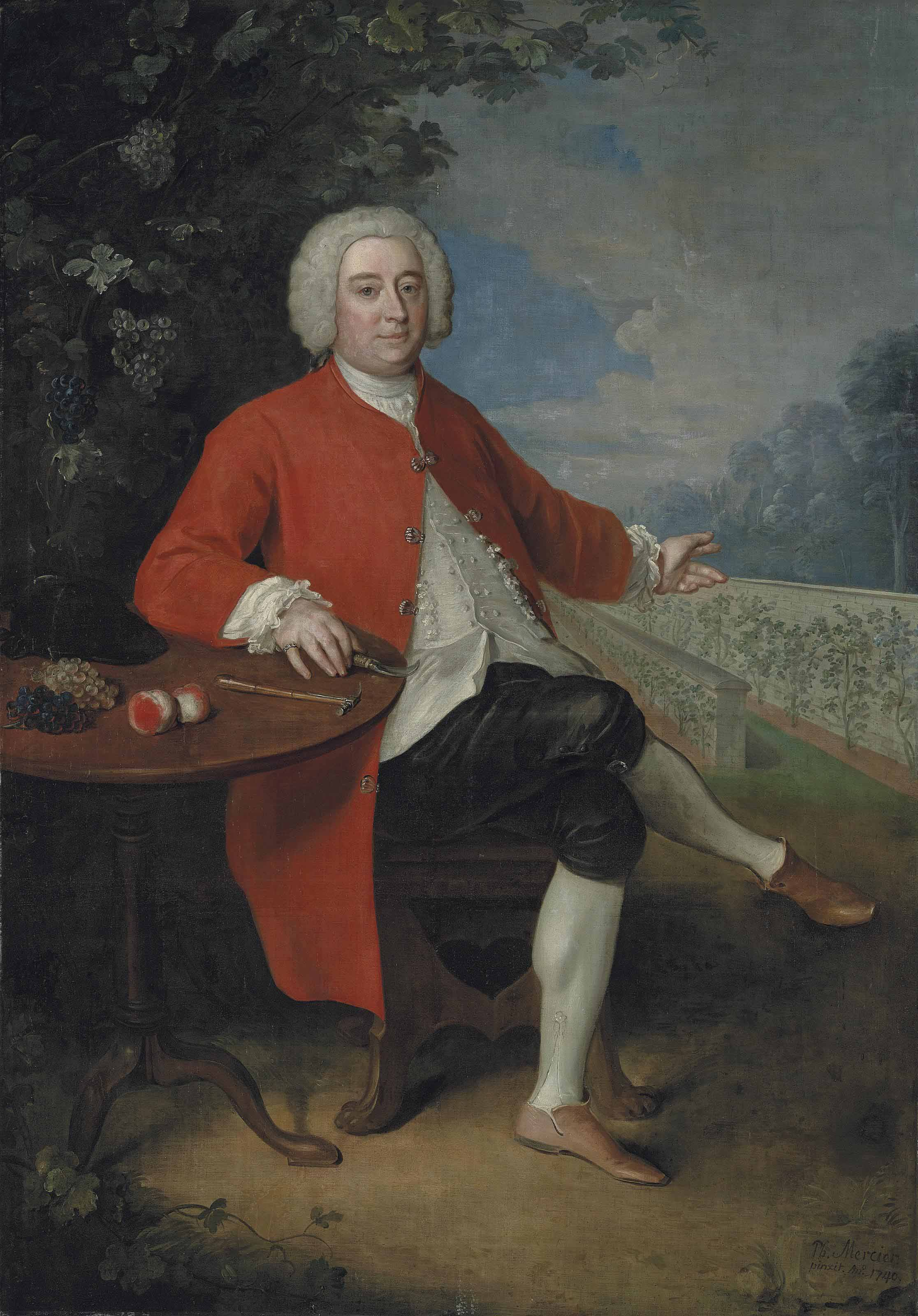 Portrait of Ralph Crathorne (d. 1755), of Ness Hall, North Riding, Yorkshire, full-length, seated at a table with grapes, peaches, a riding hat, a hammer and a pruning knife, in a landscape, gesturing to a vinery wall, in a landscape