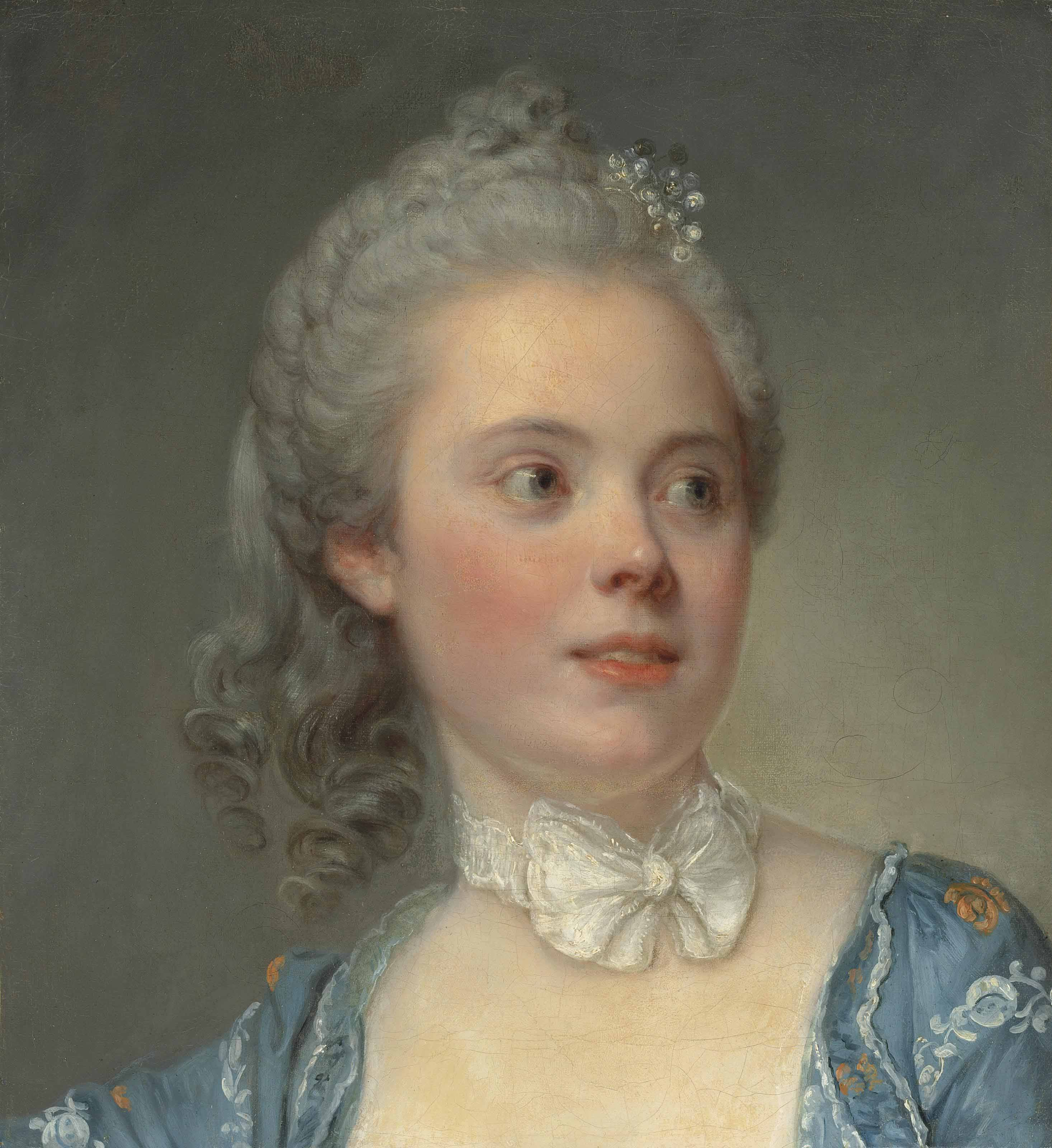 Portrait of a lady, bust-length, in an embroidered blue dress with a white lace ribbon tied in a bow at her neck