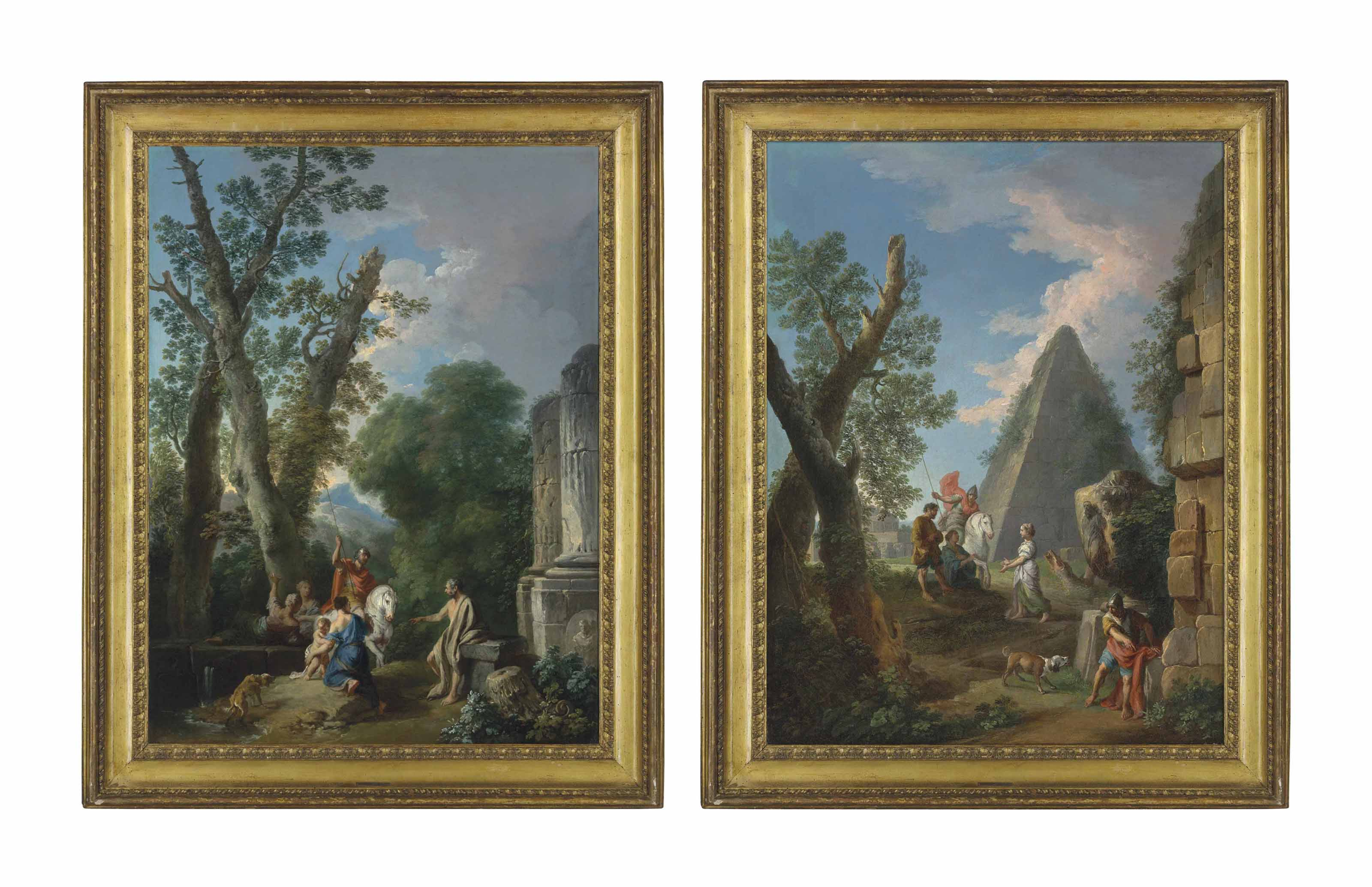 An Italianate wooded landscape with classical ruins, a centurion with other figures and a dog; and A capriccio of a pyramid with two centurions, three figures and a dog, classical ruins beyond