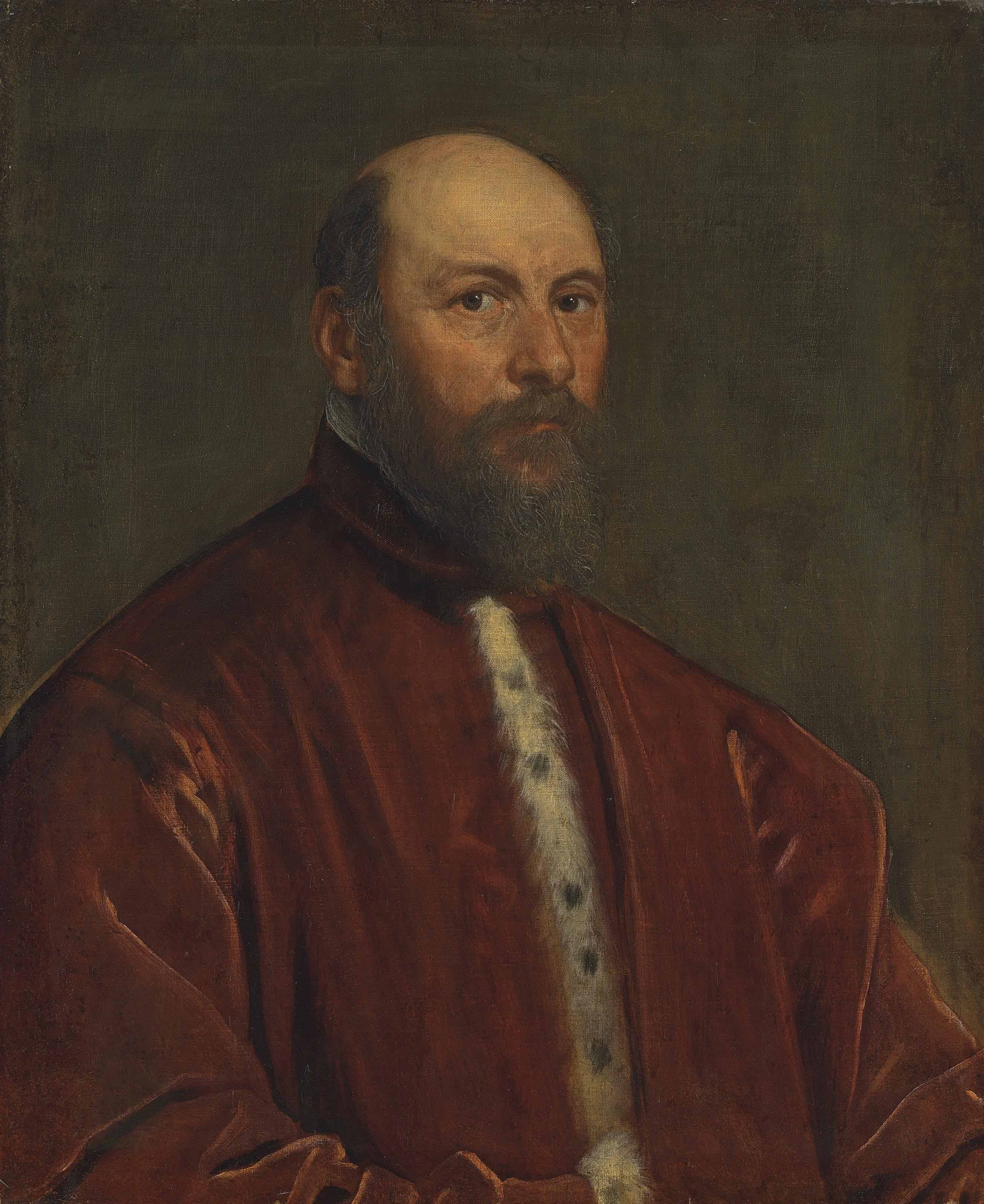 Portrait of a Venetian Senator, half-length, in red ermine-lined robes