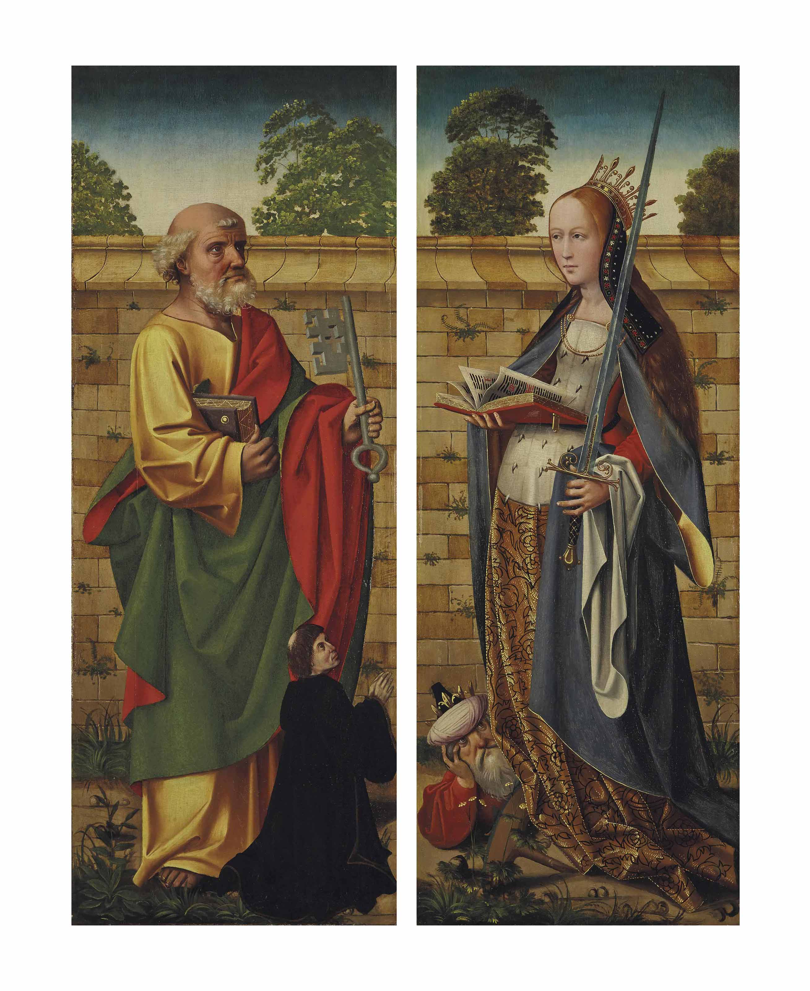 The wings of a triptych: Saint Peter with a donor; and Saint Catherine of Alexandria with the Emperor Maxentius at her feet