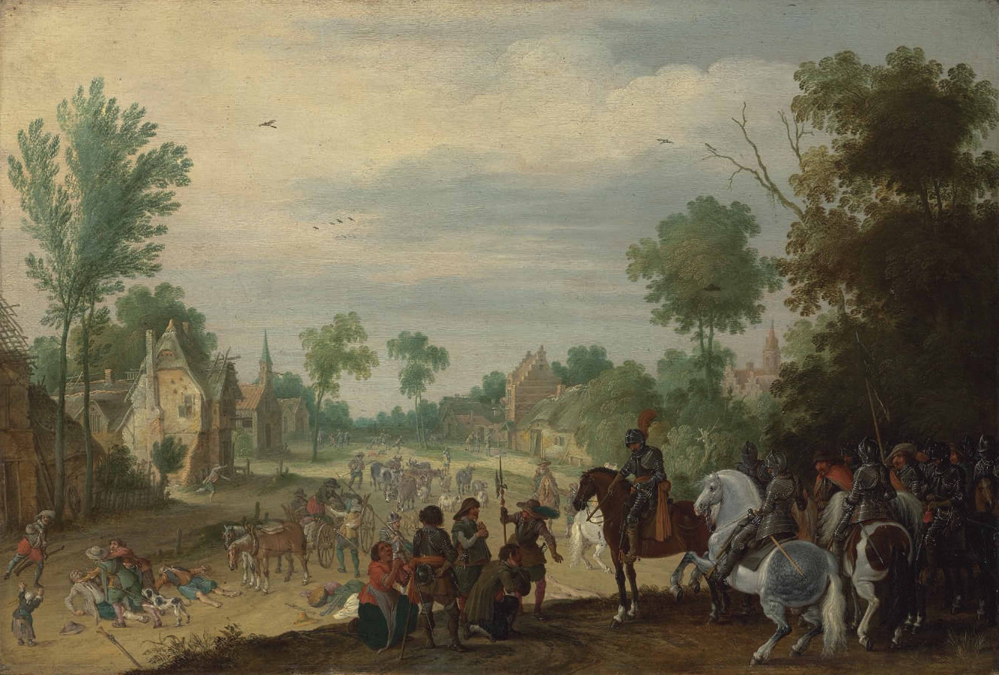 Soldiers on horseback plundering a village