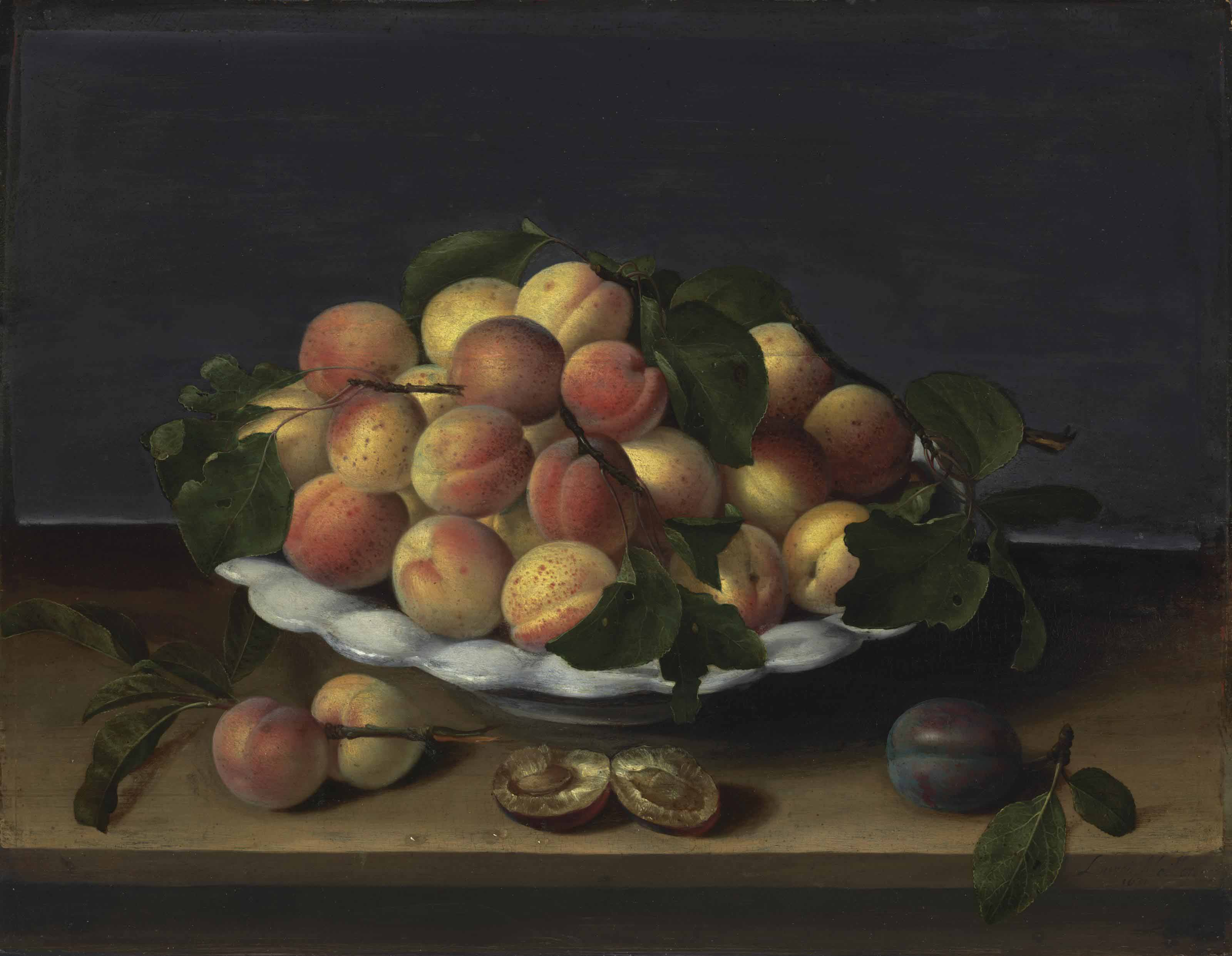 Apricots in a ceramic bowl, with plums on a stone ledge