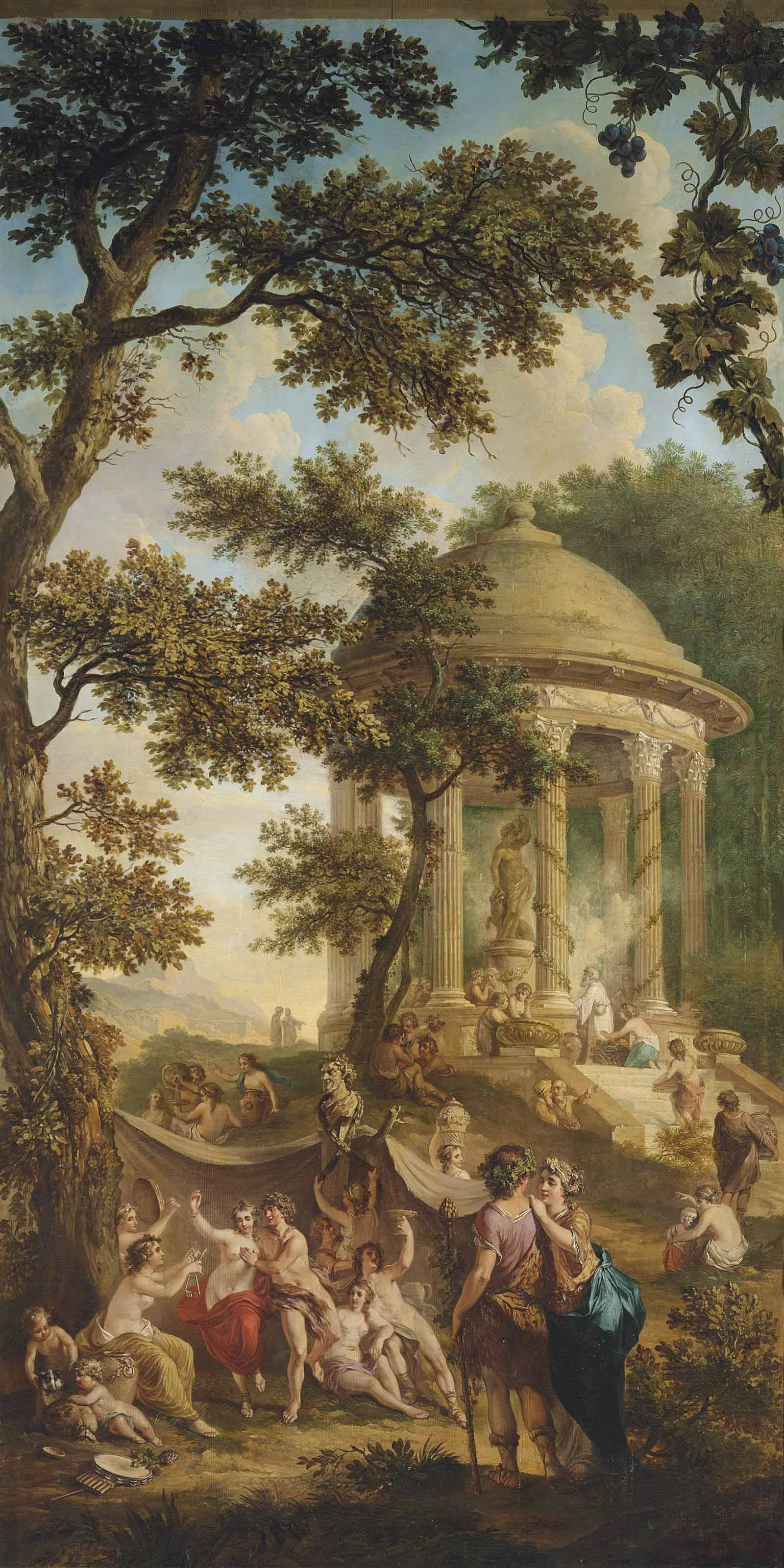 A bacchanal in a wooded landscape, a temple with an offer to Bacchus beyond, in a trompe l'oeil frame