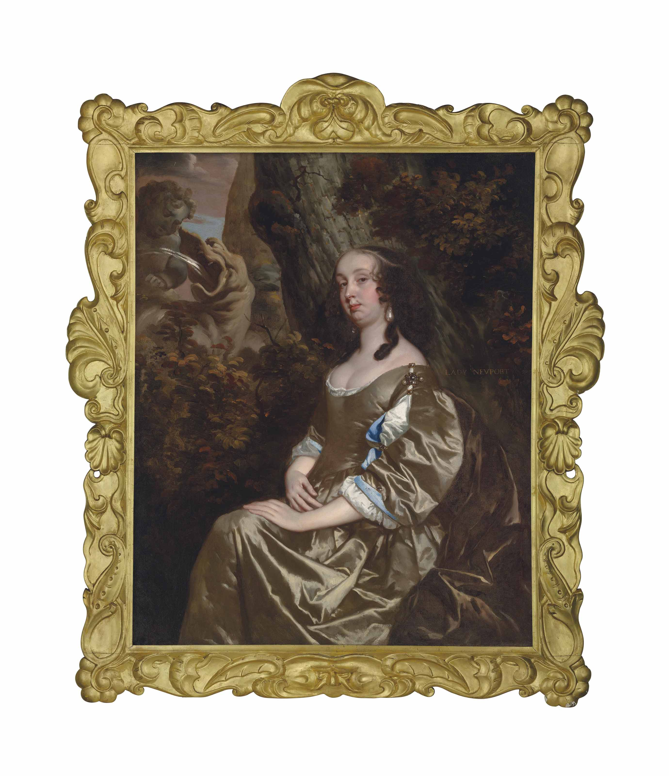 Portrait of Diana Russell, Lady Newport (1624-1694), three-quarter-length, in an oyster satin dress embellished with jewels, in a wooded landscape