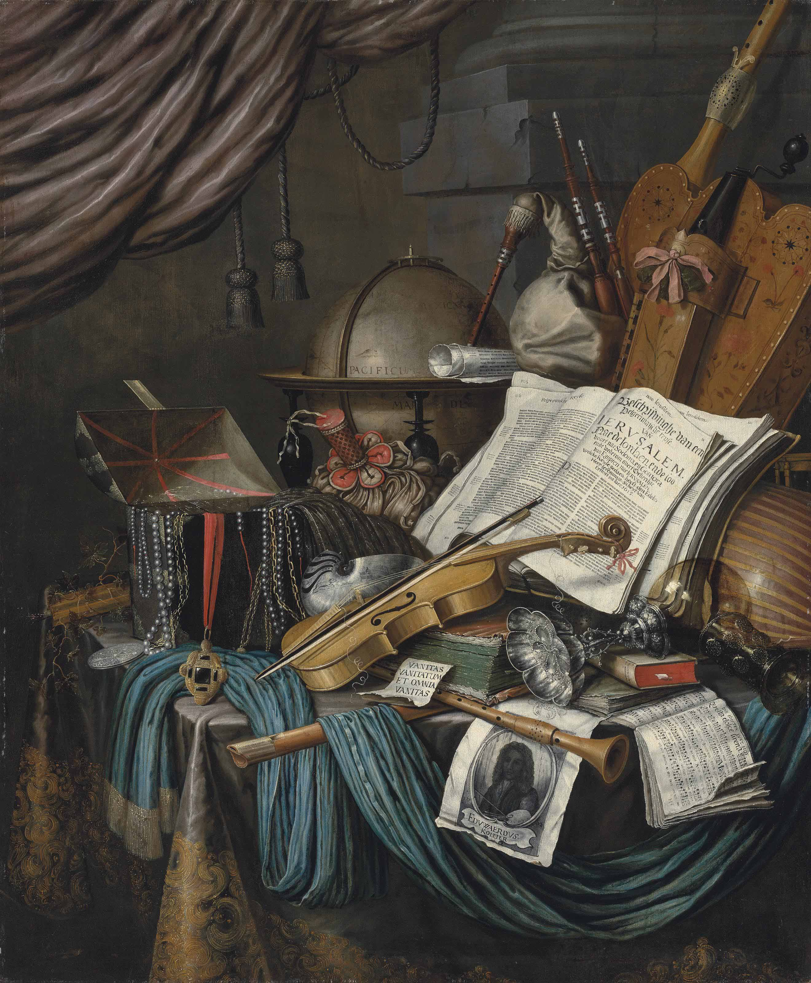 A globe, a casket of jewels and medallions, books, a hurdy-gurdy, a bagpipe, a lute, a violin, an upturned silver tazza and roemer, a nautilus shell, a recorder, a shawm, a print with a self-portrait of the artist and a musical score on a draped table, a curtain above