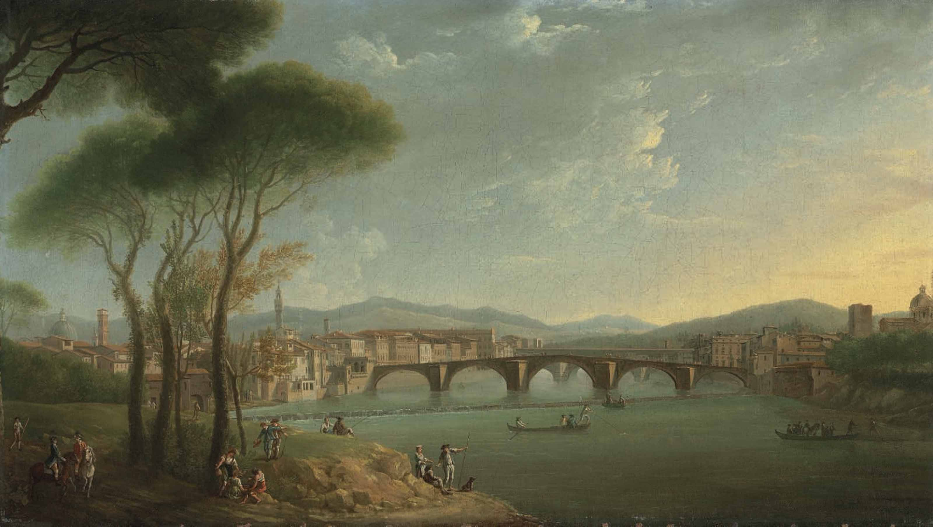 A view of the Arno, Florence, from the Cascine Gardens, with figures fishing and resting on the rocks in the foreground, the Ponte alla Carità and the Ponte Vecchio beyond