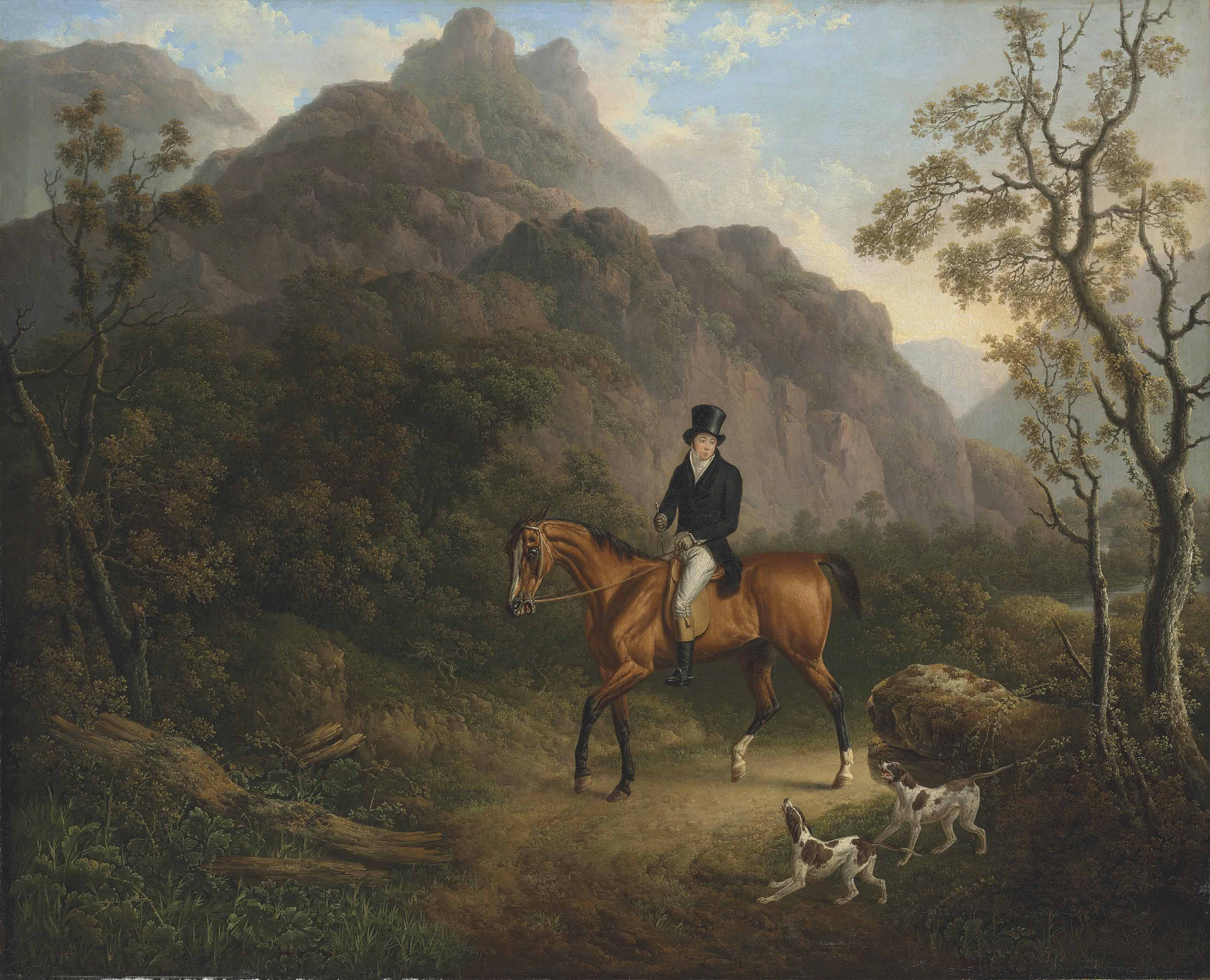 A mountainous landscape with a gentleman on a chestnut hunter, accompanied by two pointers