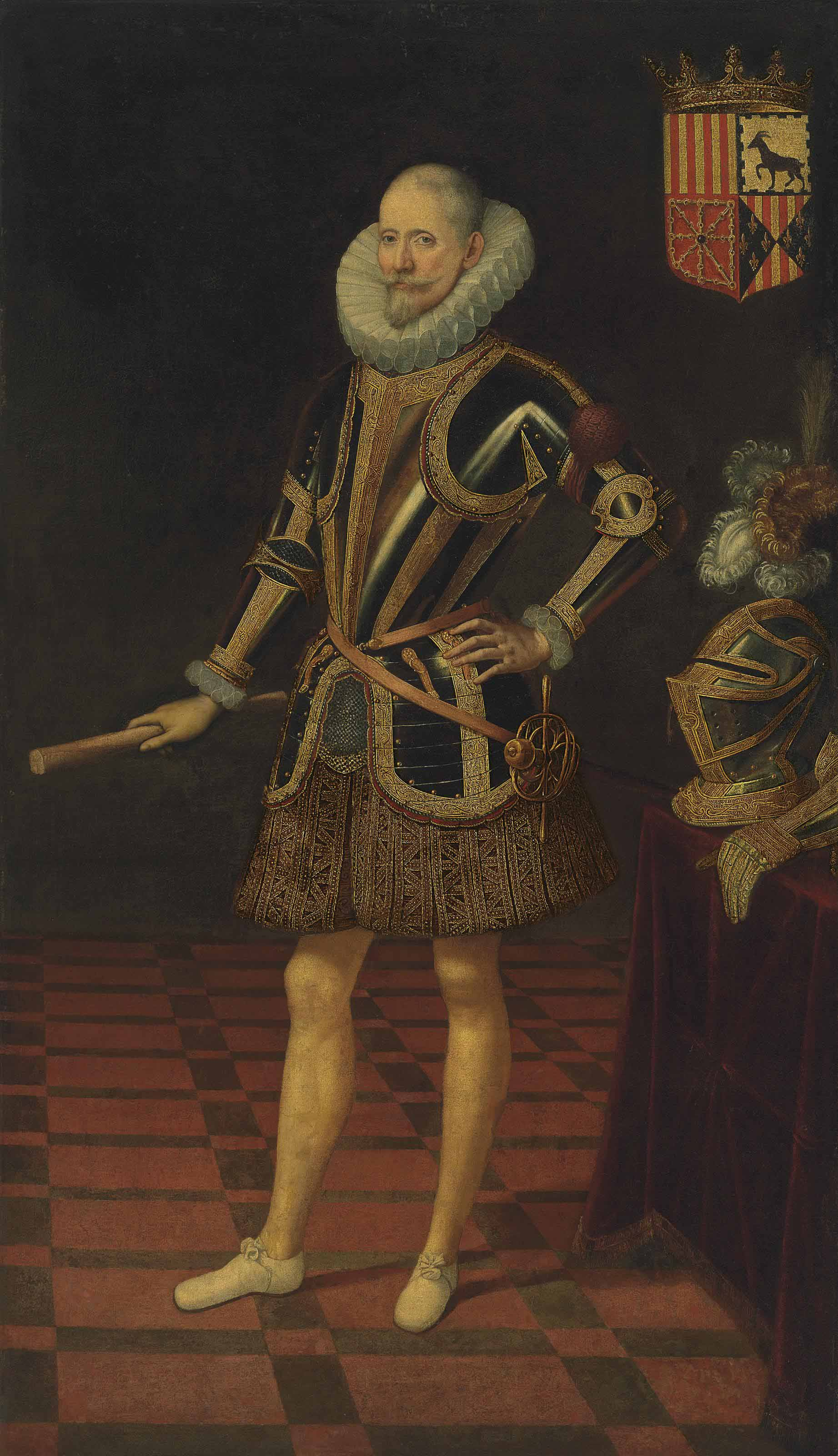 Portrait of a nobleman, probably Juan Francisco Cristobal Fernández de Híjar (c. 1550-1614), 4th Duke of Híjar, Duke of Aliaga and Lécera, Count of Belchite, full-length, in armour and embroidered trunk hose, holding a baton of command in his right hand, his plumed helmet and gauntlet resting on a draped table