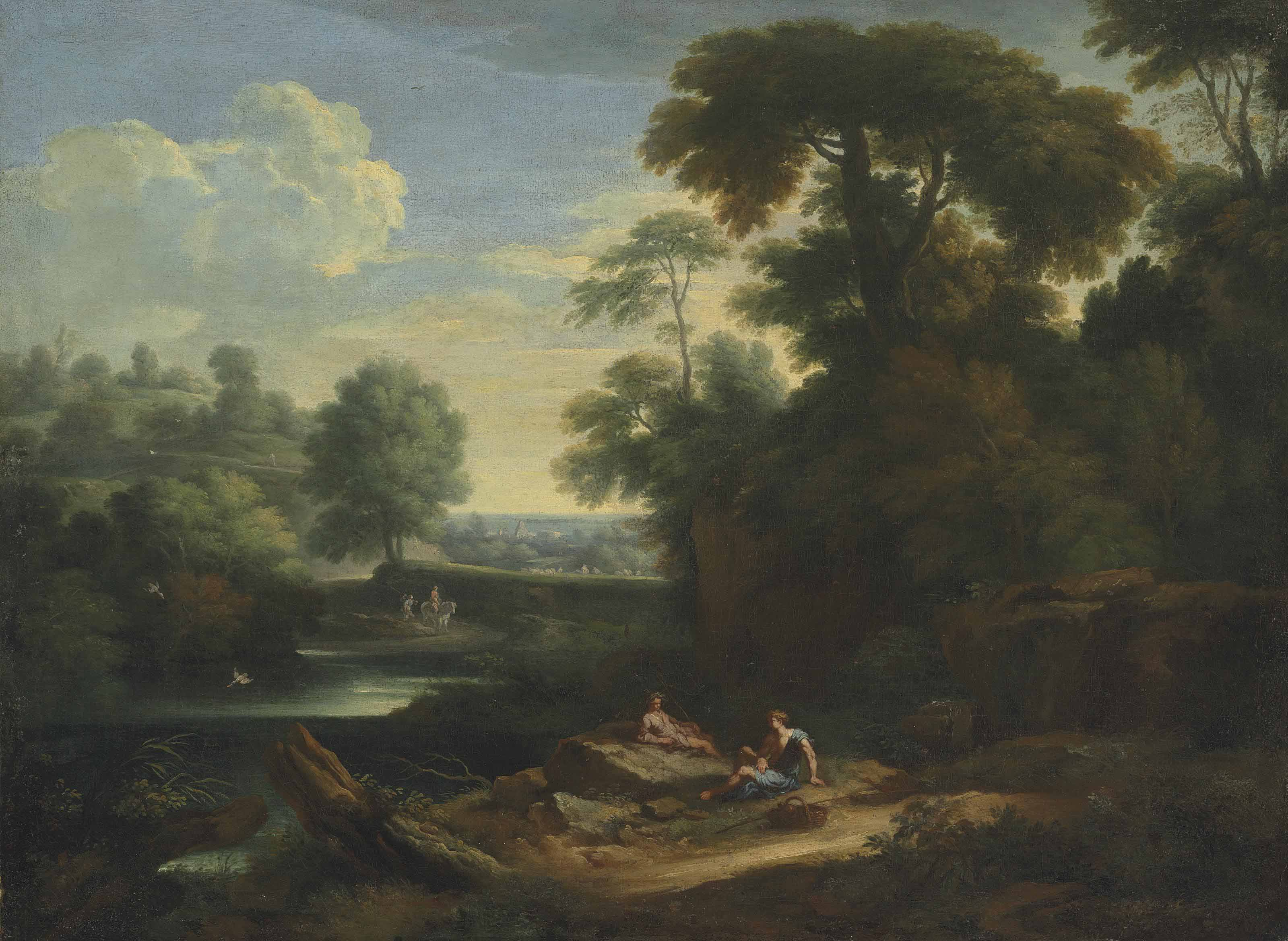An Italianate wooded landscape with Arcadian figures resting beside a lake, the Pyramid of Cestius beyond
