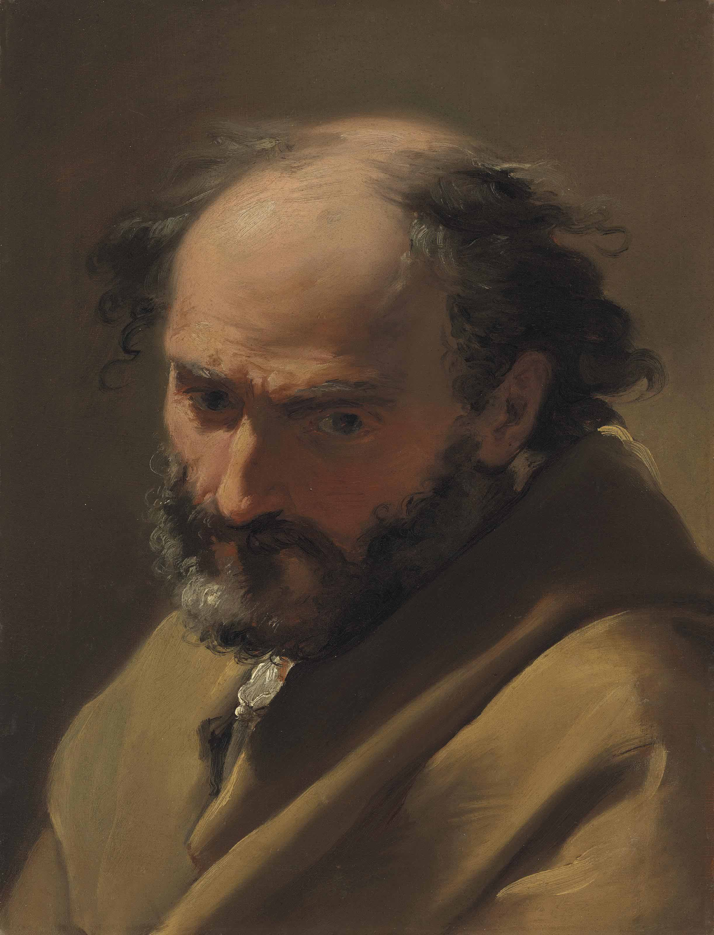A bearded man, bust-length, in a brown cape