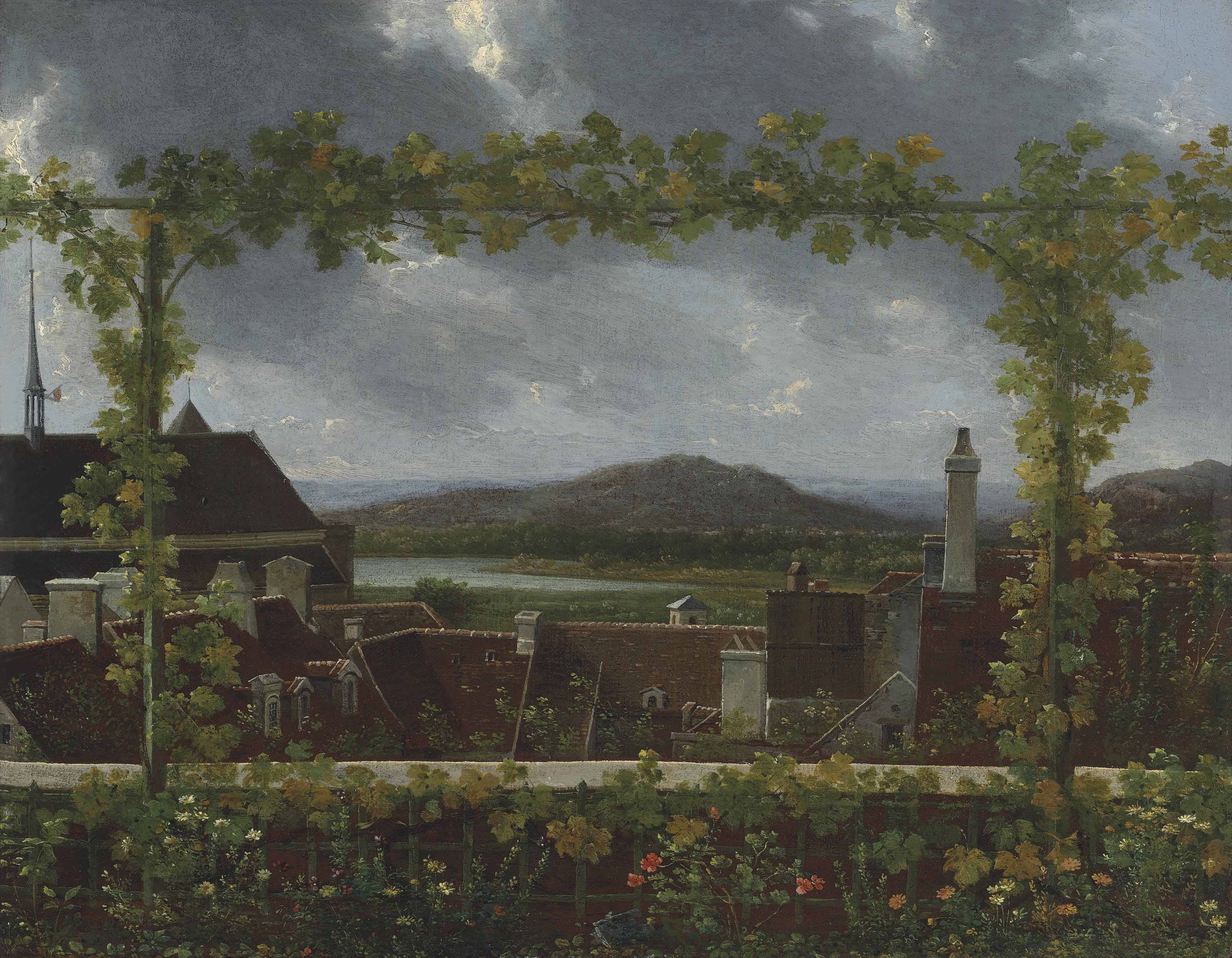 A grapevine on a flowering trellis framing a town in an extensive river landscape, possibly near Lake Geneva