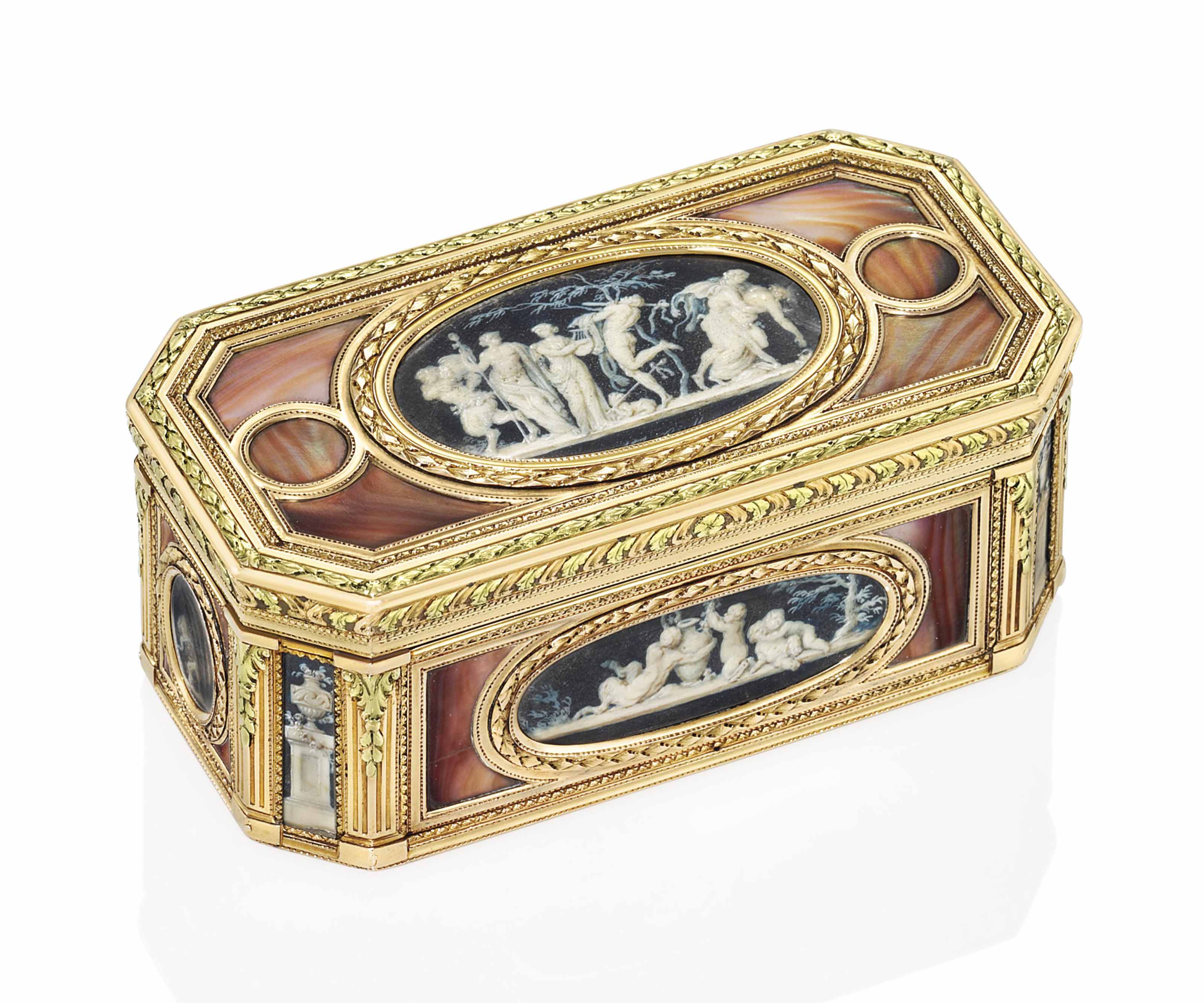 AN IMPORTANT LOUIS XV VARI-COLOUR GOLD-MOUNTED AND COLOURED SHELL BOÎTE-A-MINIATURES