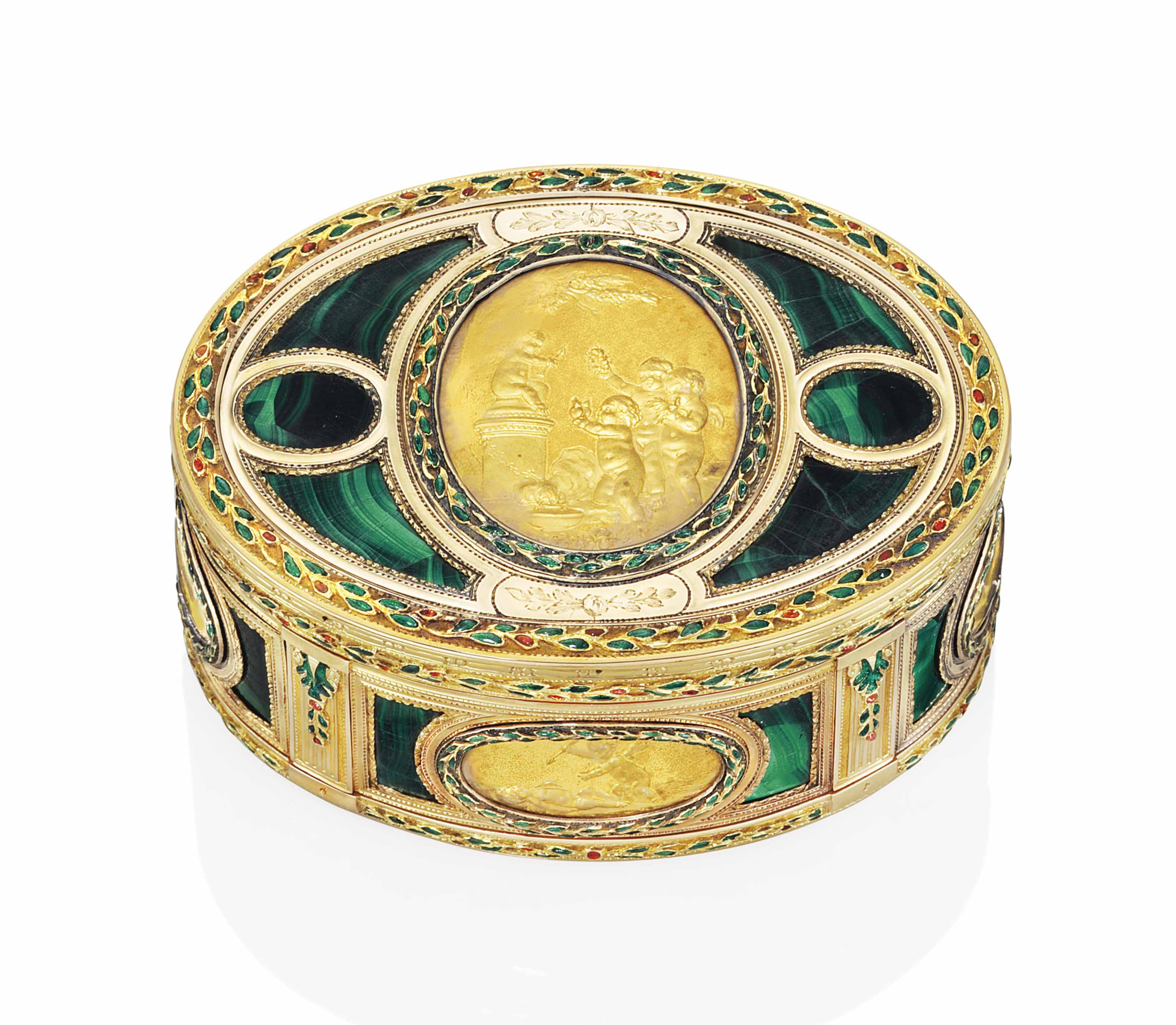 AN IMPORTANT LOUIS XV ENAMELLED GOLD AND HARDSTONE SNUFF-BOX