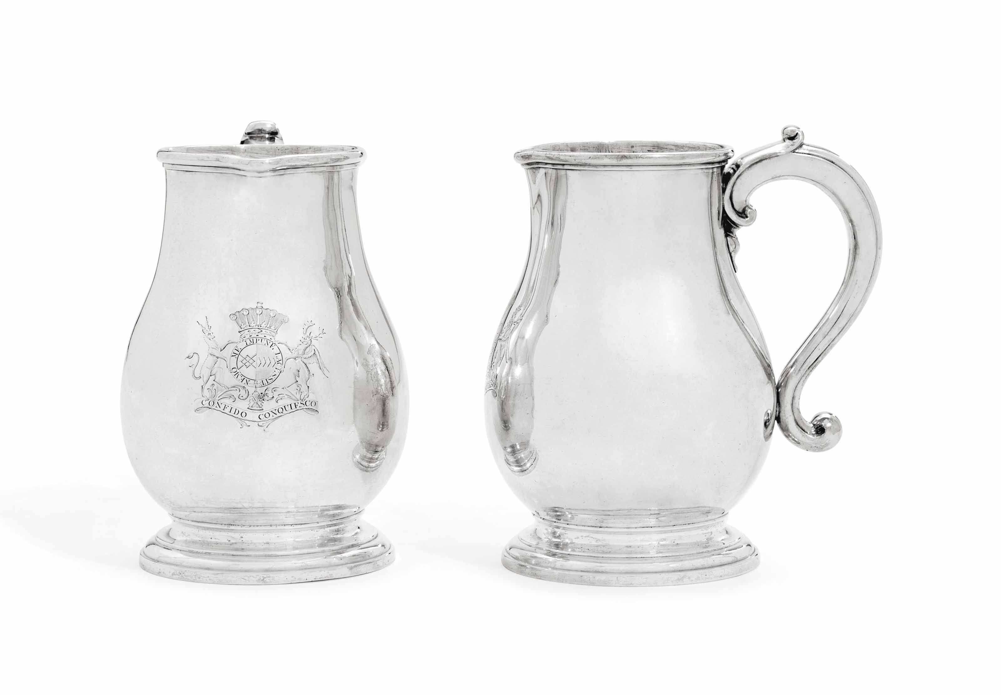 A PAIR OF GEORGE I SILVER BEER-JUGS