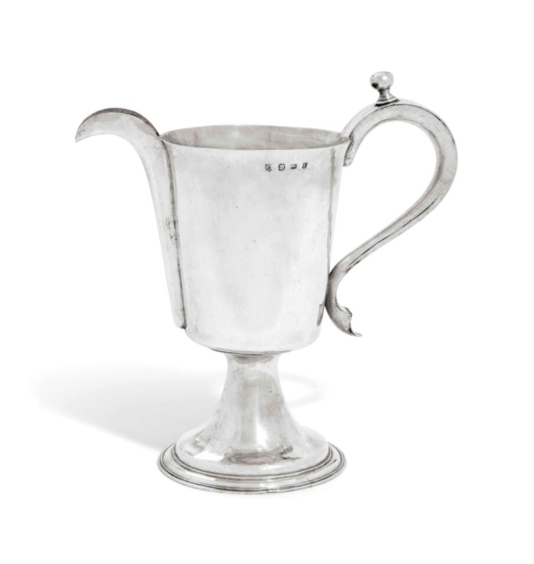 A Charles I silver ewer, London, 1635, makers mark PB between crescents in shaped shield, very probably for Peter Bettesworth. 11¼ in (28.5 cm) high. Sold for £47,500 on 2-3 June 2015  at Christie's in London