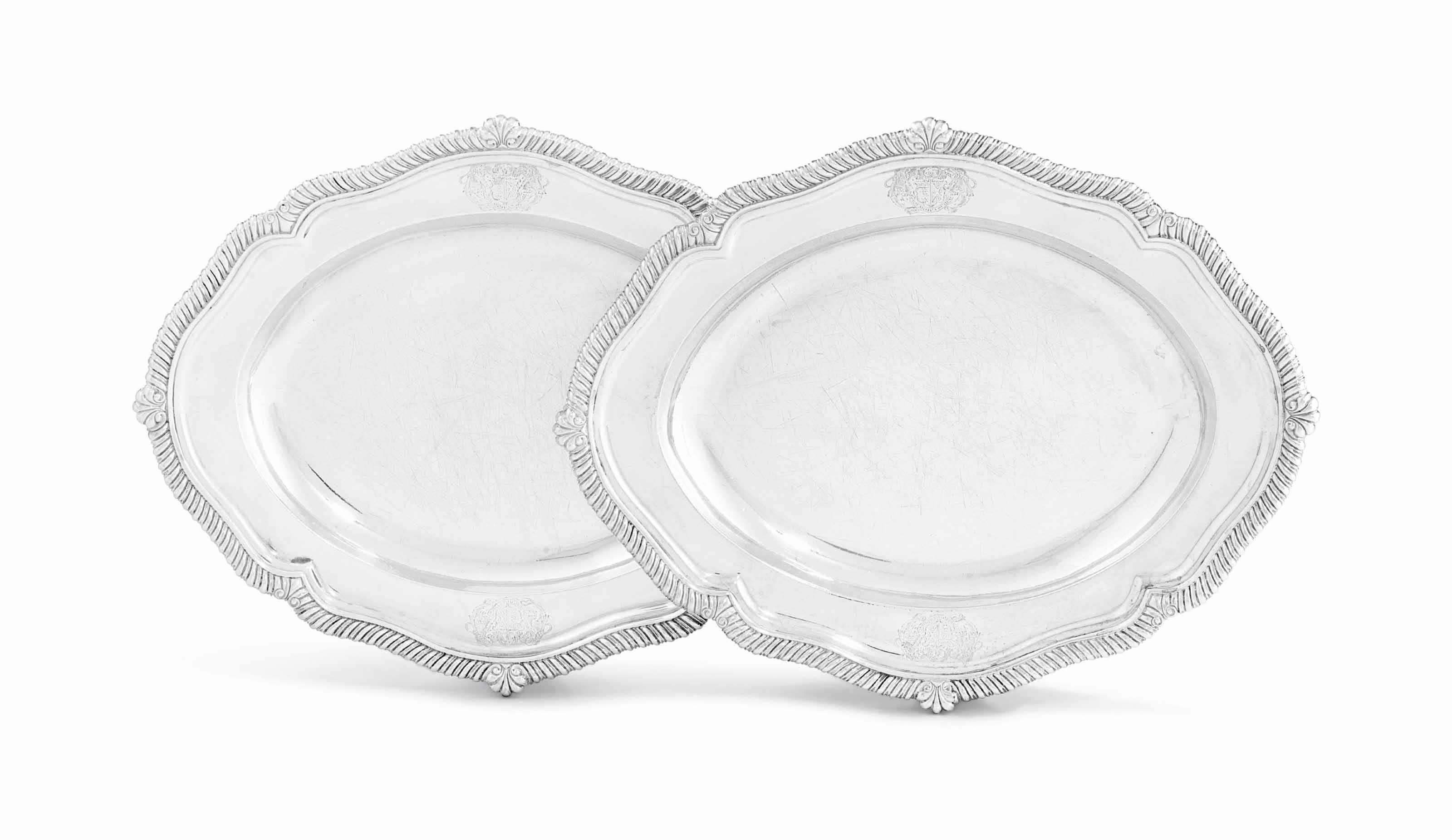 A PAIR OF GEORGE III SILVER MEAT-DISHES