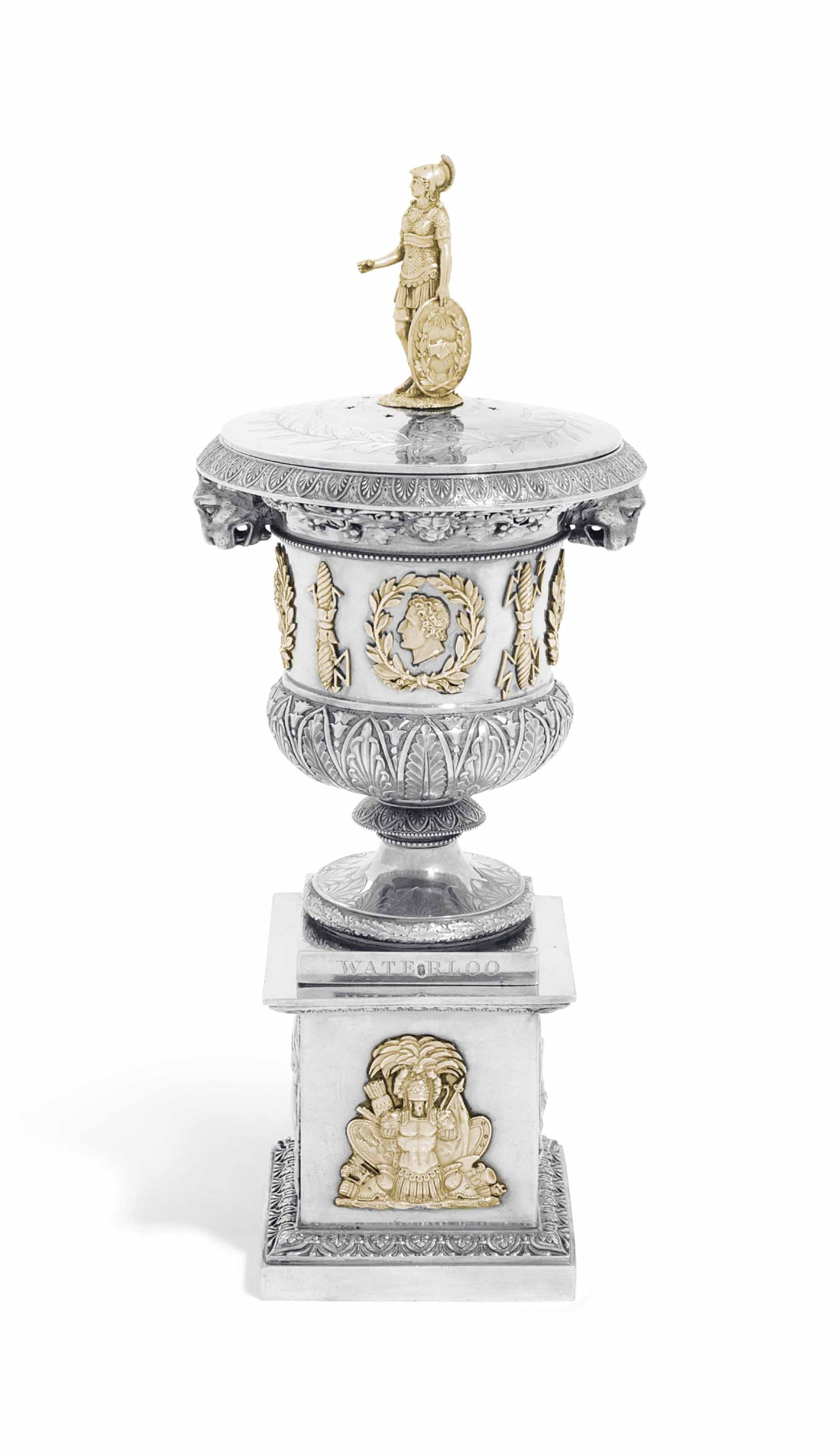 A SWISS PARCEL-GILT SILVER PERFUME-VASE AND STAND