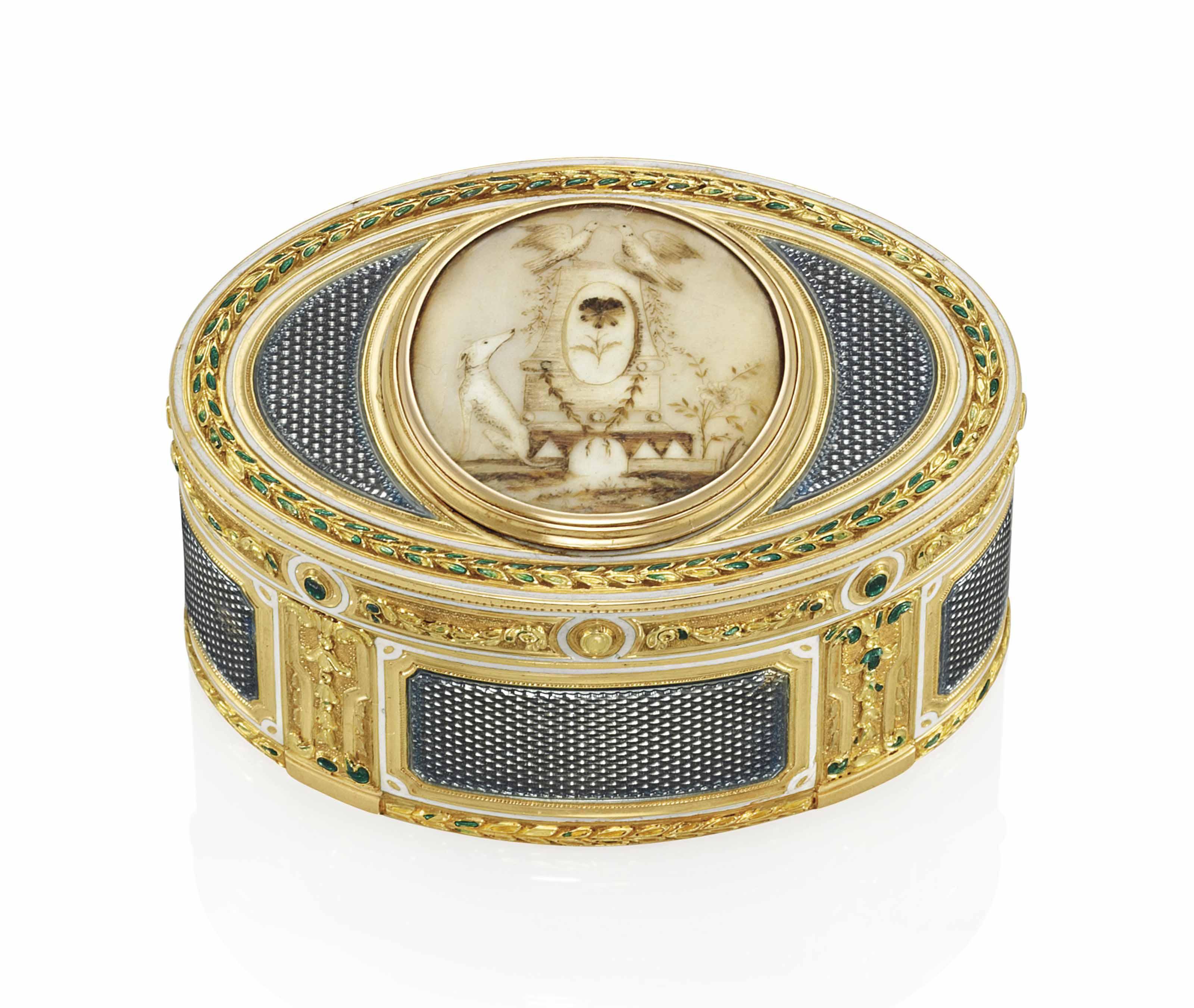 A LOUIS XV ENAMELLED GOLD SNUFF-BOX