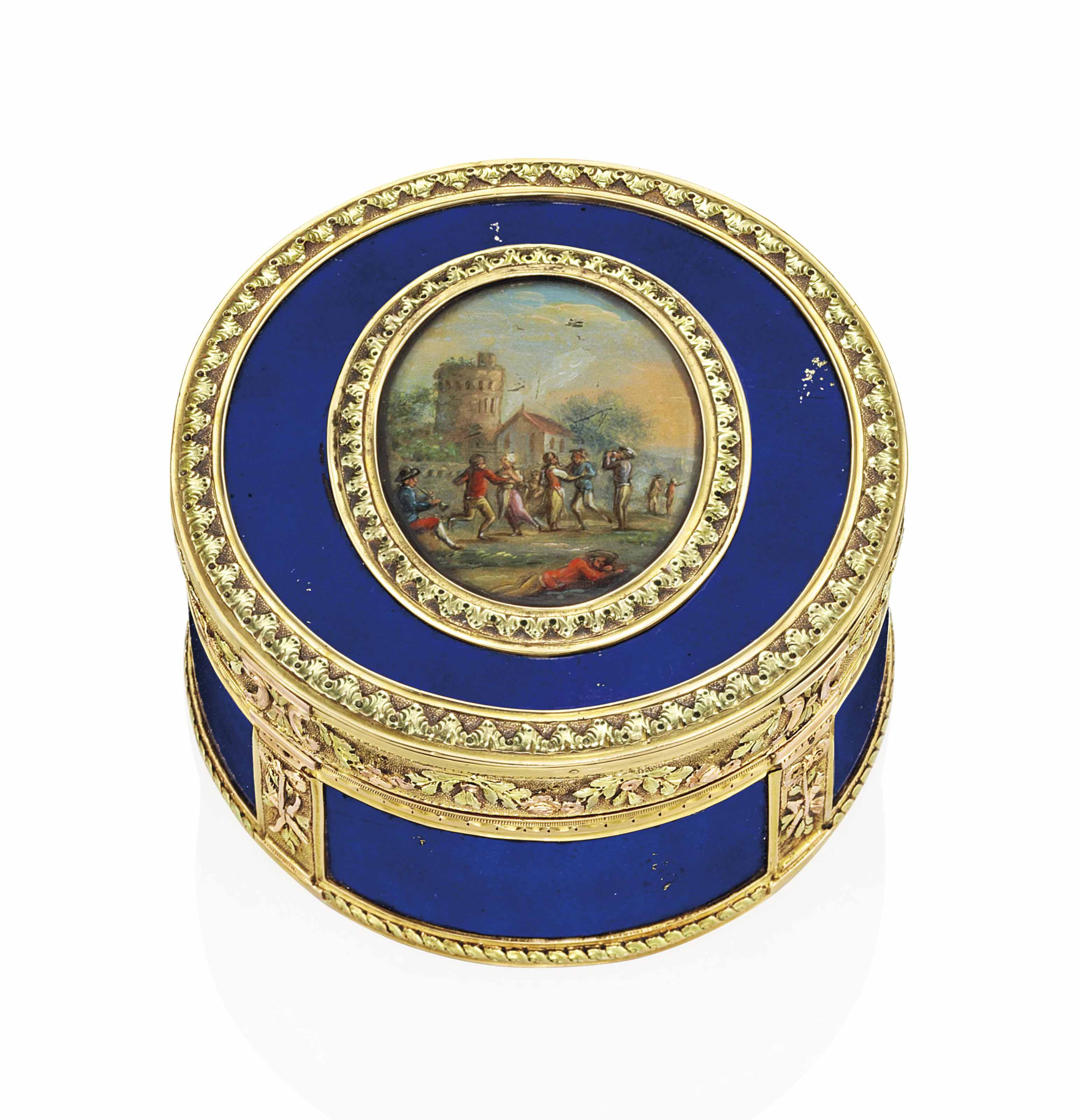 A LOUIS XVI VARI-COLOUR GOLD AND BLUE-GLASS SNUFF-BOX SET WITH A MINIATURE