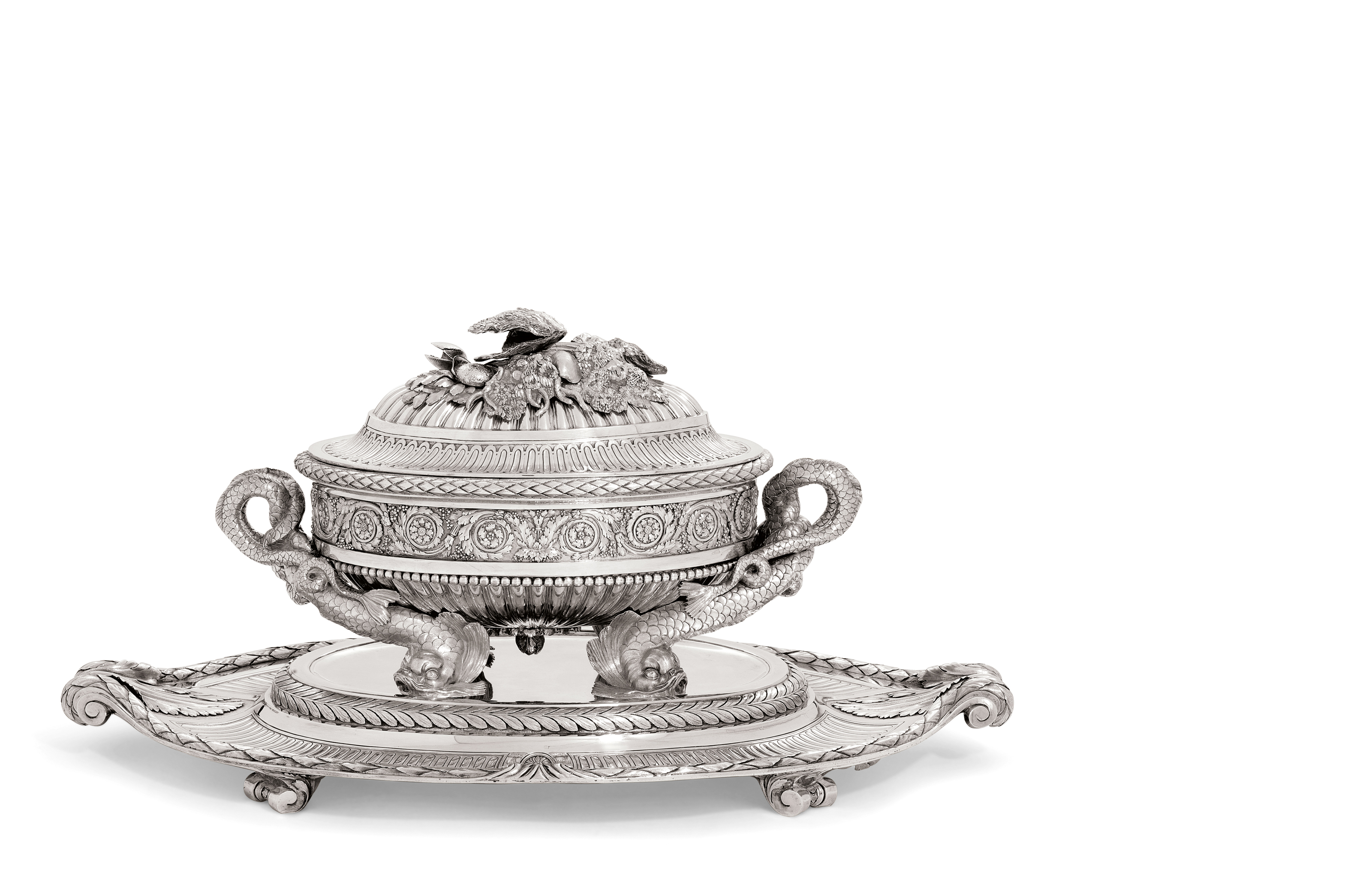 AN AUSTRIAN SILVER SOUP-TUREEN, COVER, STAND AND LINER FROM THE SECOND SACHSEN-TESCHEN SERVICE