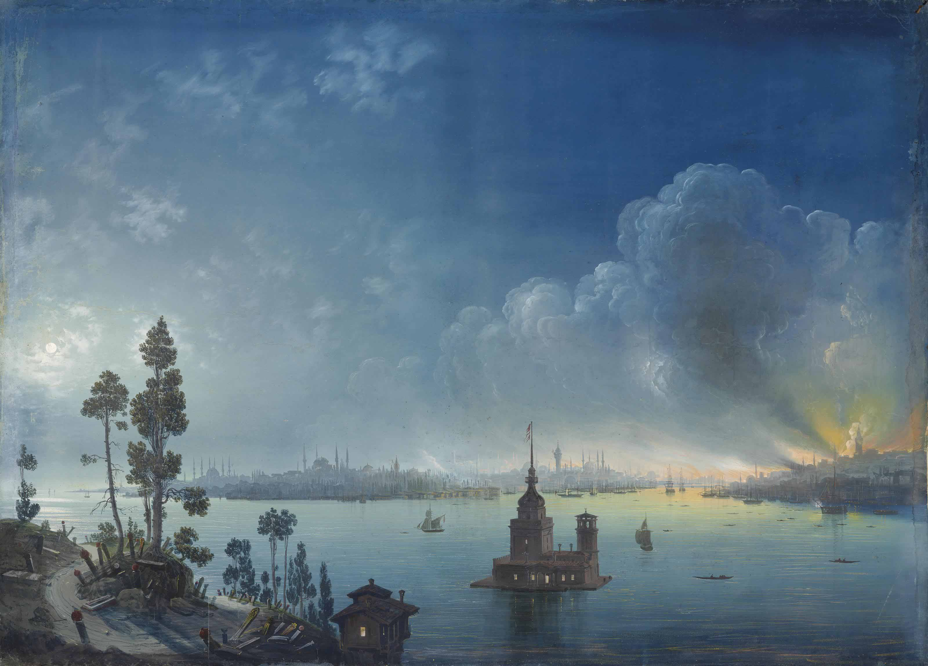 Constantinople - a view across the Bosphorus towards Leander's Tower by night
