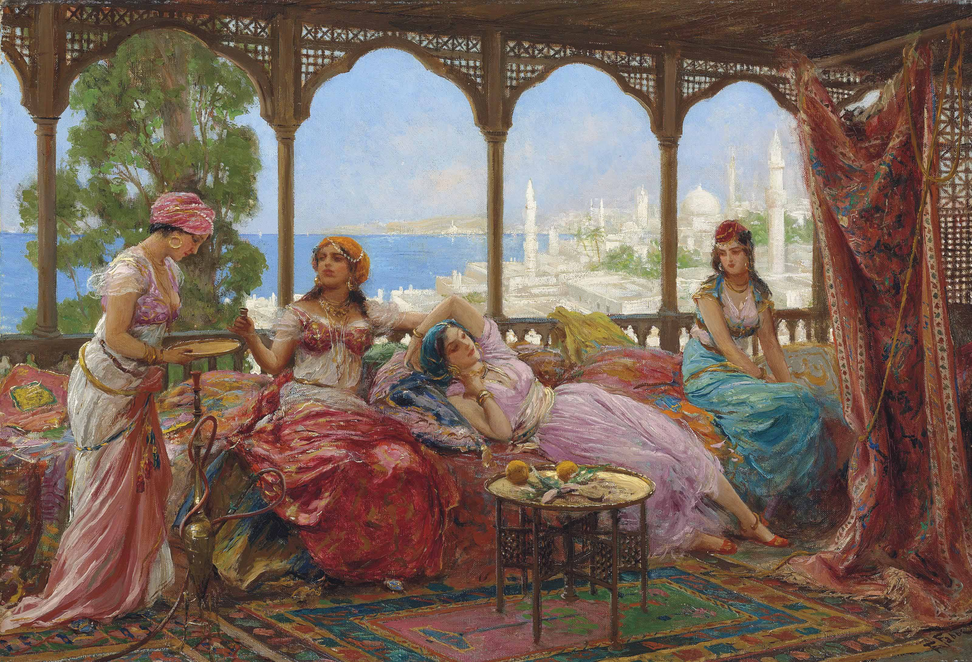 Resting on a terrace overlooking a Middle Eastern coast
