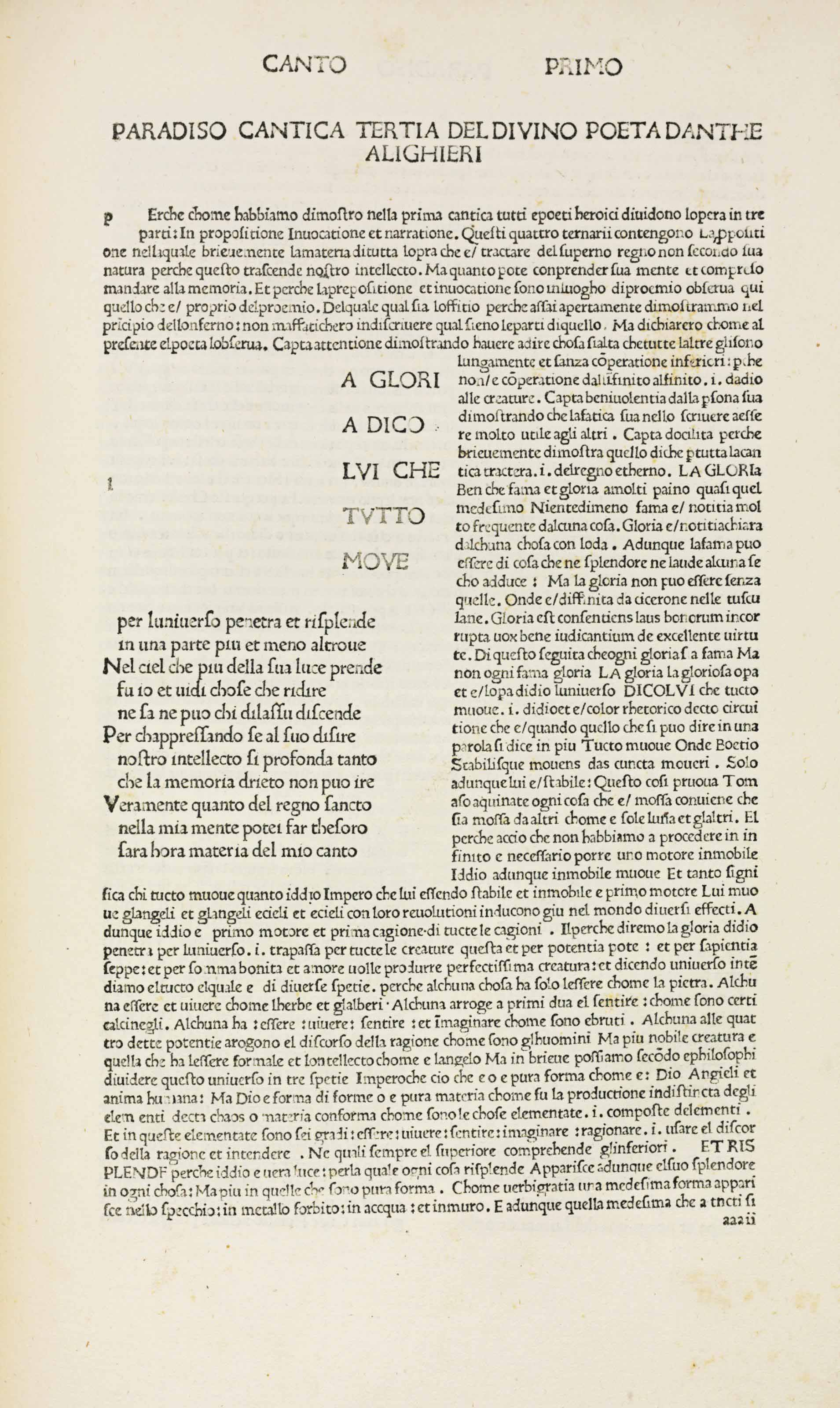 [ROSSETTI, Dante Gabriel (1828-1882)] — DANTE ALIGHIERI (1265-1321). La Commedia. Commentary by Cristoforo Landino (1424-1504); commendations by Marsilio Ficino (1433-1499). Florence: Nicolaus Laurentii, Alamanus, 30 August 1481.