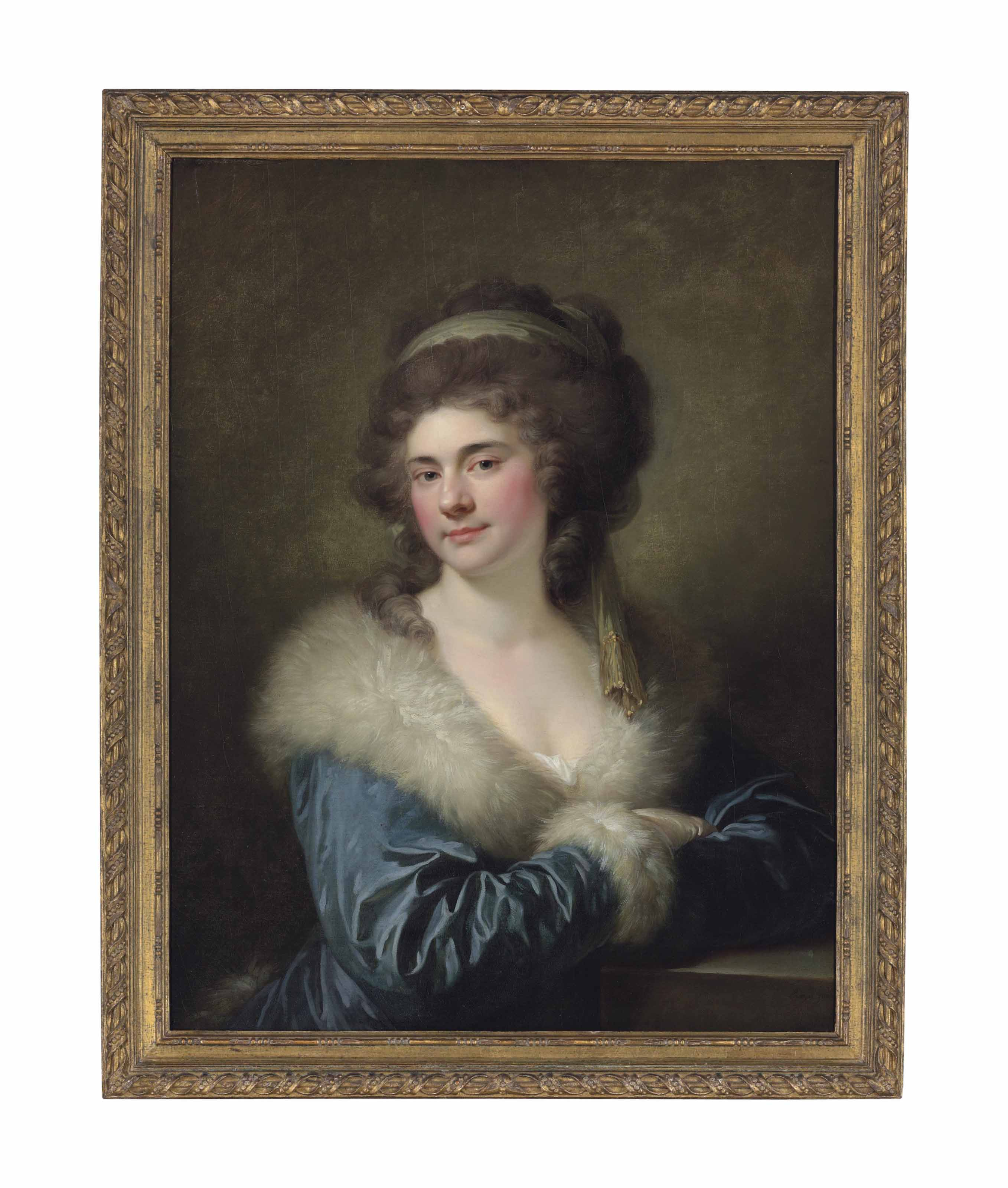 Portrait of Countess Julia Potocka, née Lubomirska (1764-1794), half-length, in a blue cloak with a white fur collar, leaning on a pedestal