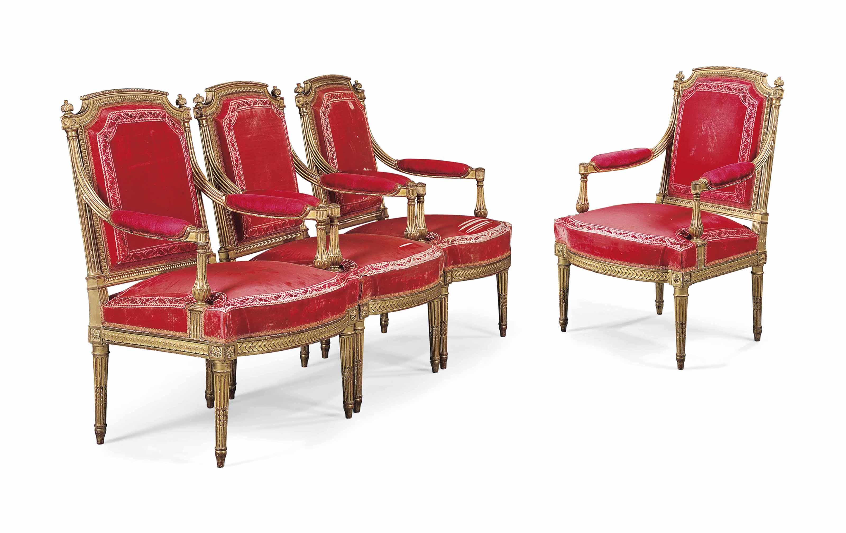 A SET OF FOUR LOUIS XVI GILTWOOD FAUTEUILS A LA REINE