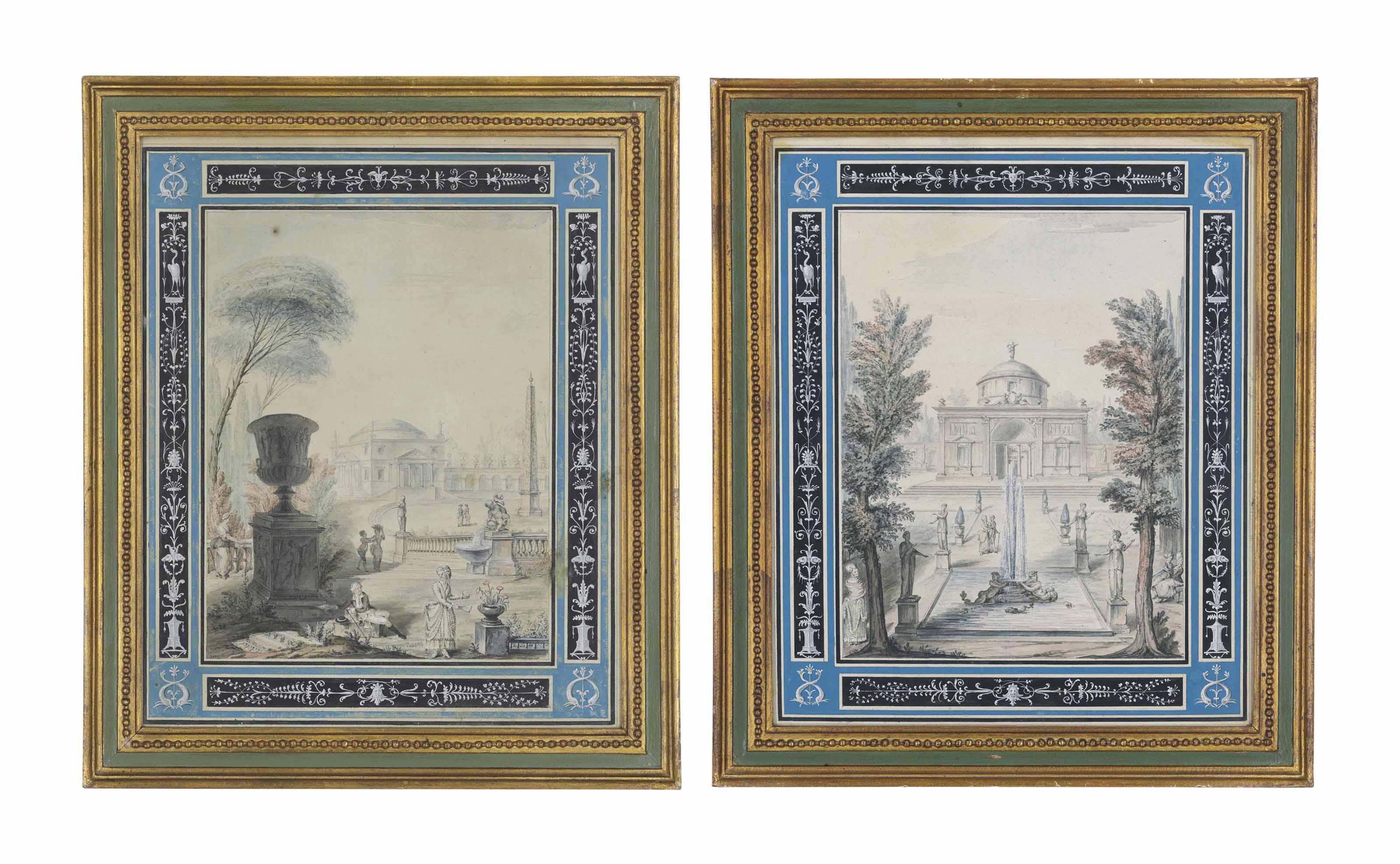 Two capricci with figures in classical gardens surrounded by a decorative border