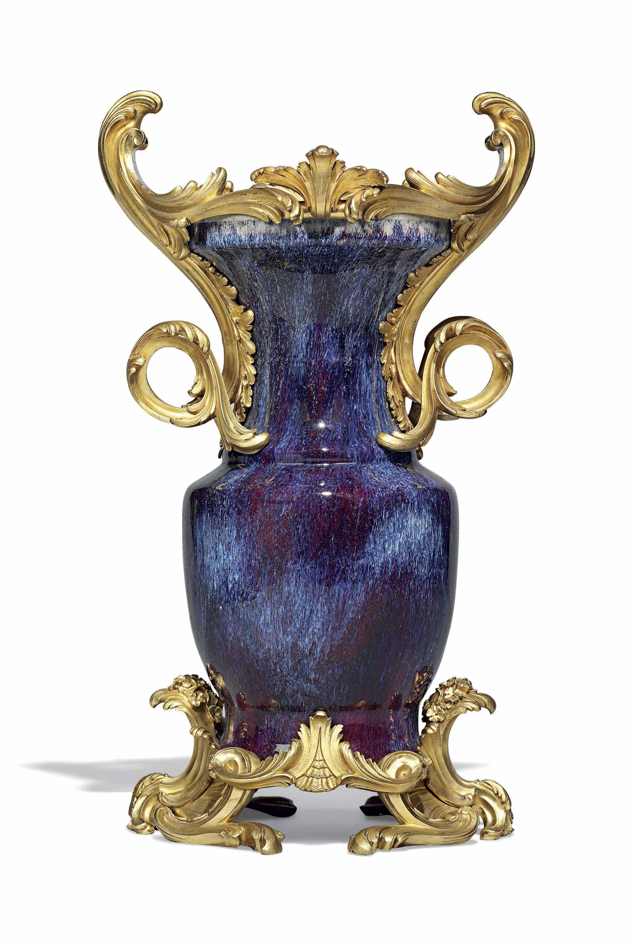 A LOUIS XV ORMOLU-MOUNTED CHINESE FLAMBE-GLAZED PORCELAIN VASE