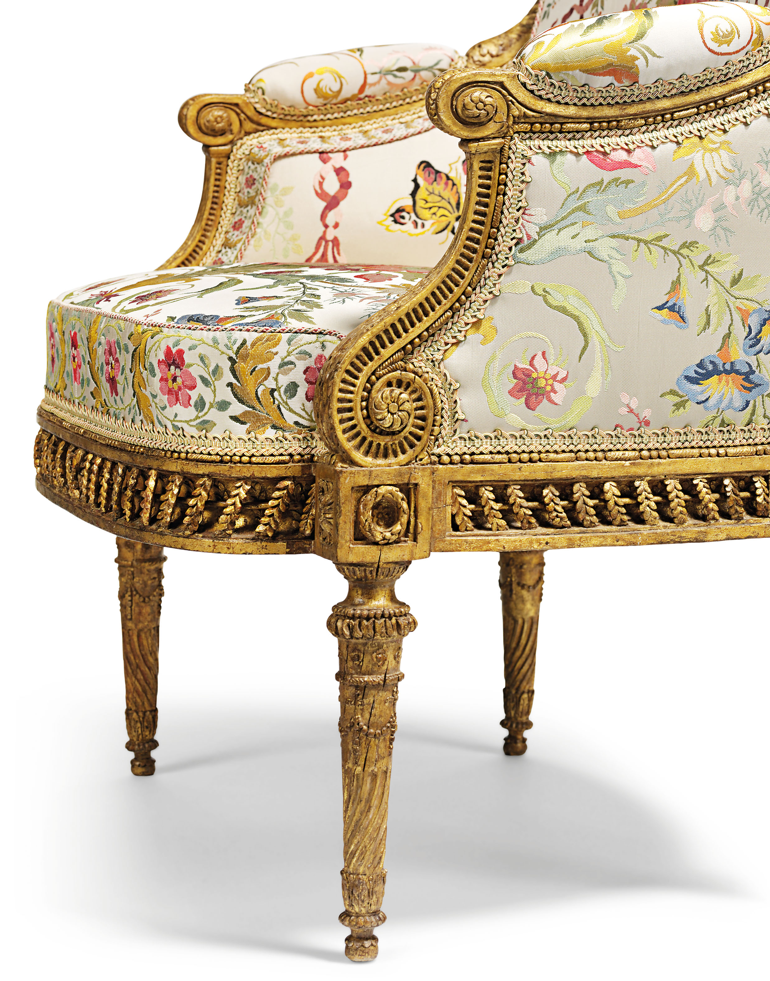 a royal louis xvi giltwood fauteuil en bergere by. Black Bedroom Furniture Sets. Home Design Ideas