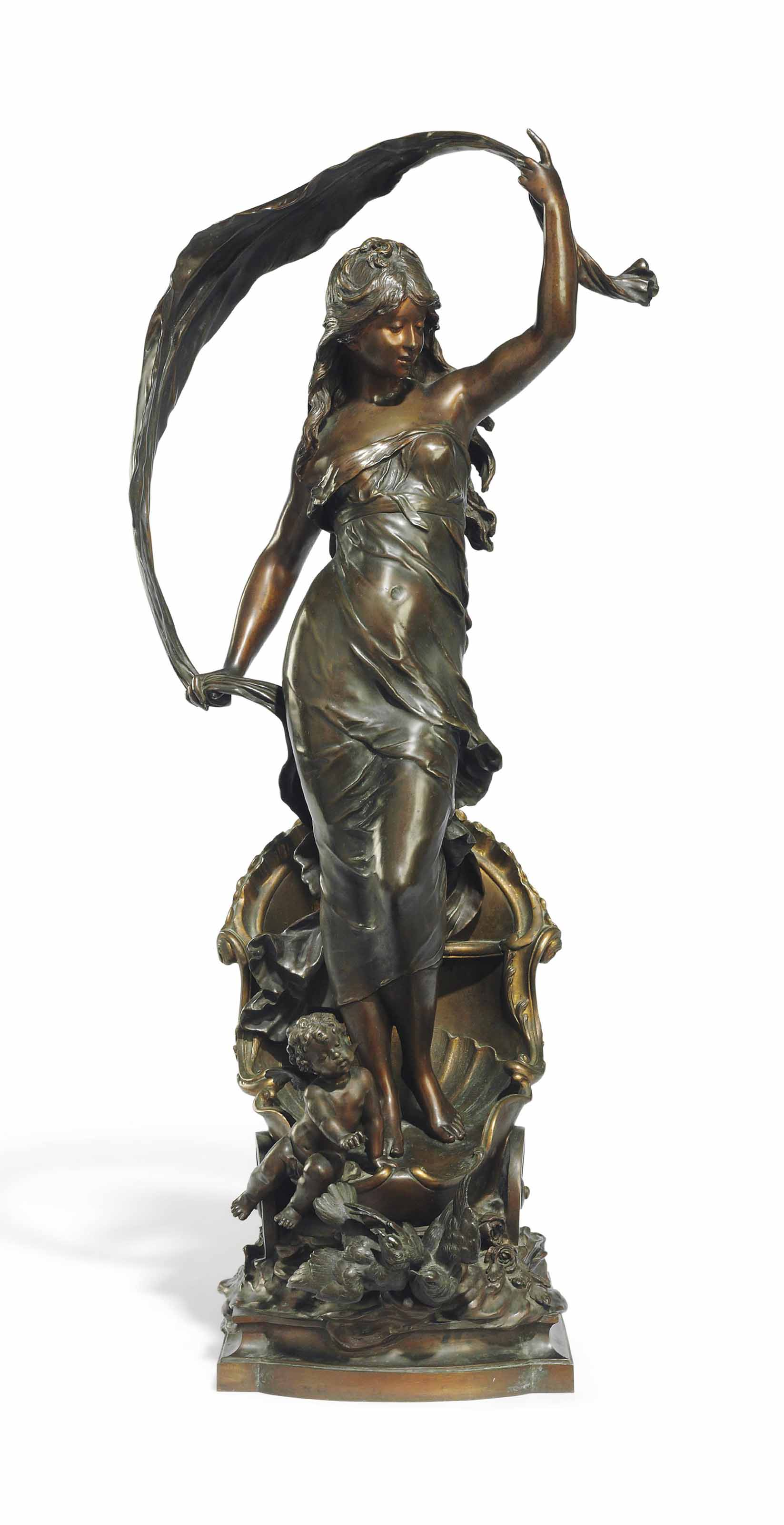 A FRENCH PATINATED-BRONZE FIGURE OF 'LE CHAR D'AURORE'