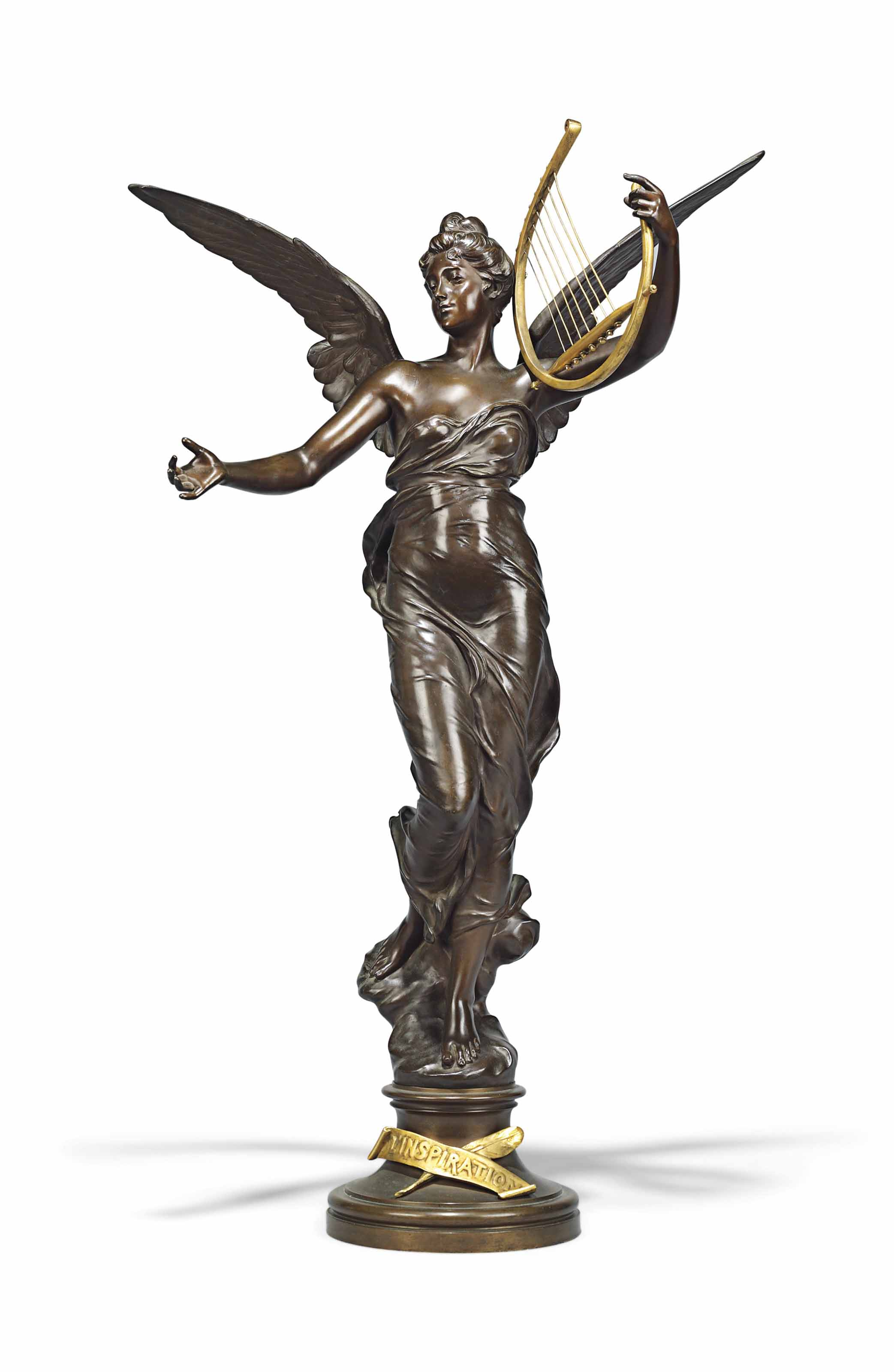 A FRENCH GILT AND PATINATED-BRONZE FIGURE ENTITLED, 'L'INSPIRATION' (INSPIRATION)