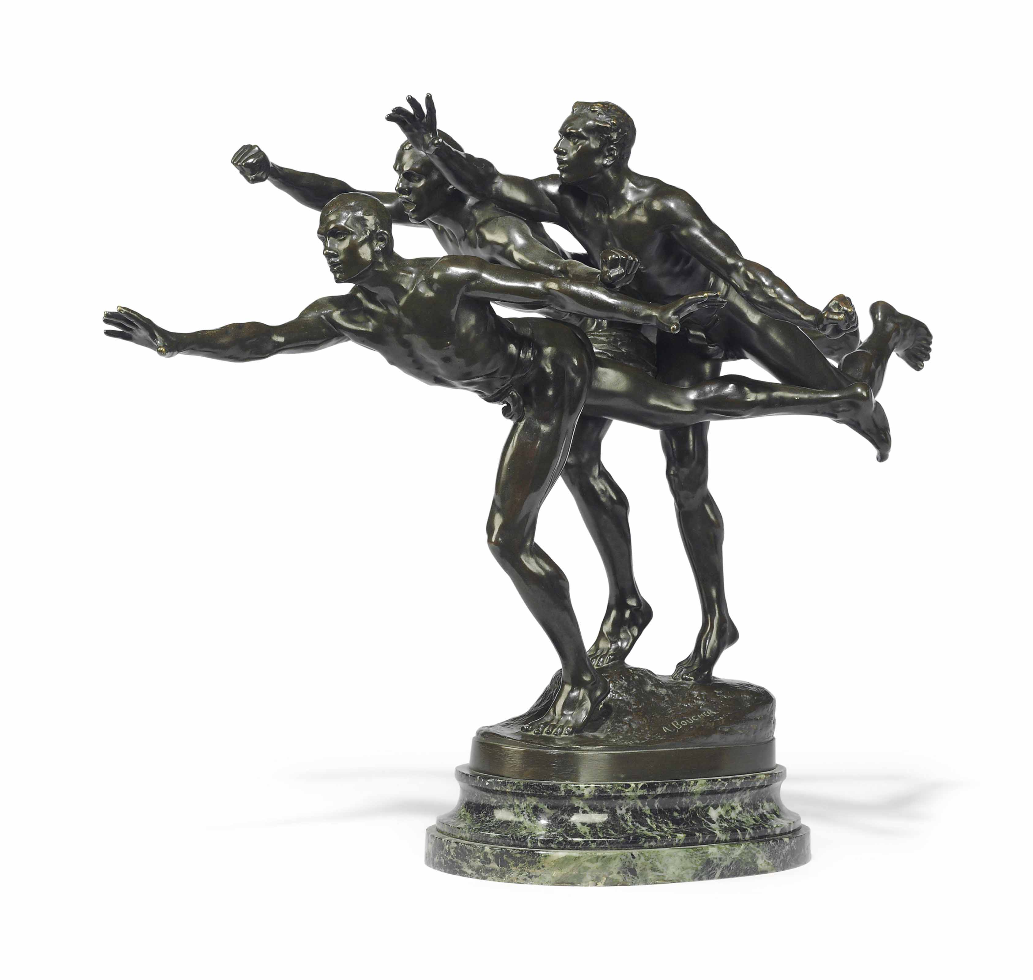 A FRENCH PATINATED-BRONZE FIGURAL GROUP ENTITLED 'AU BUT'