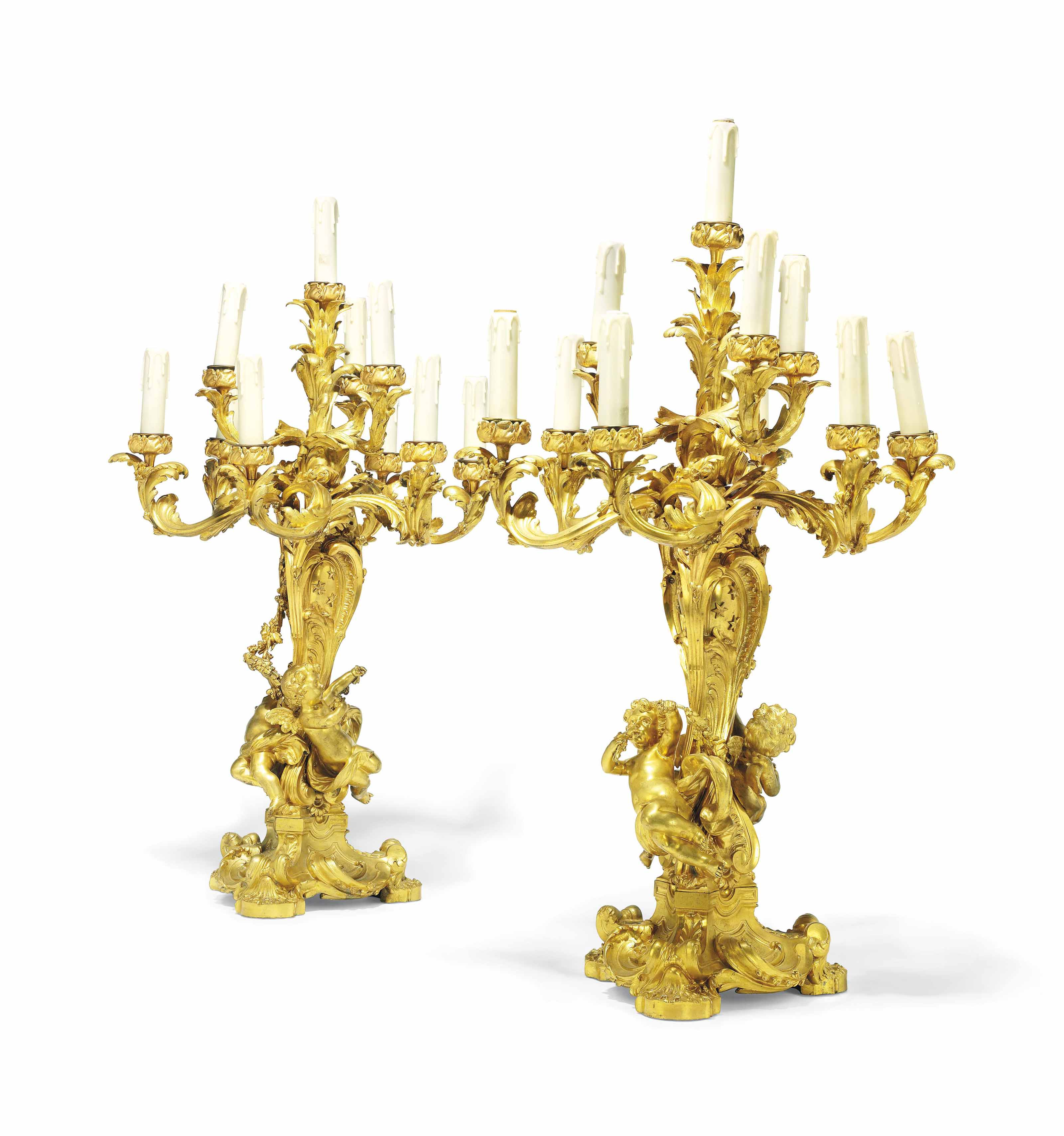 A LARGE PAIR OF FRENCH ORMOLU TEN-LIGHT CANDELABRA