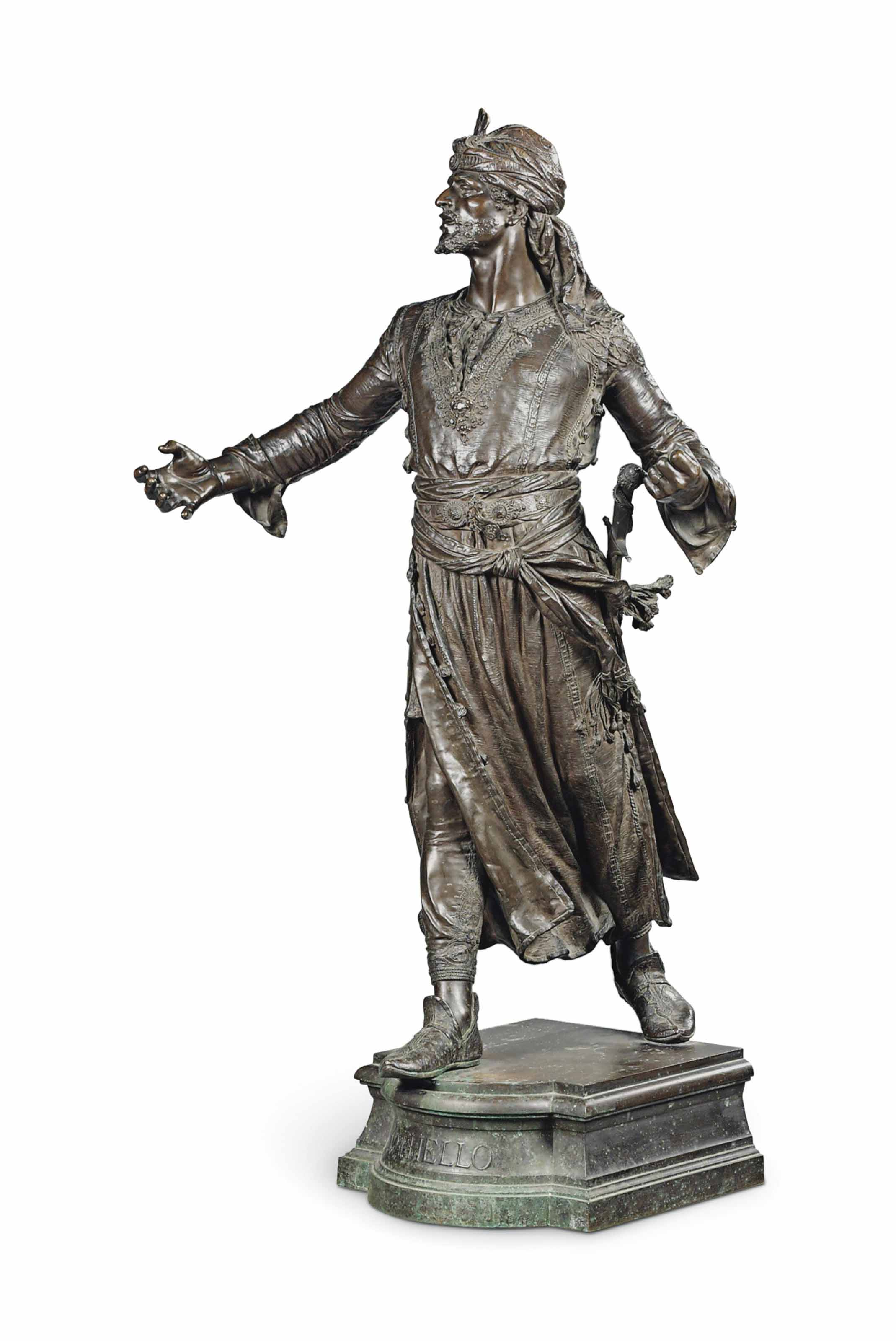 A FRENCH GILT AND PATINATED-BRONZE FIGURE, ENTITLED 'OTHELLO'