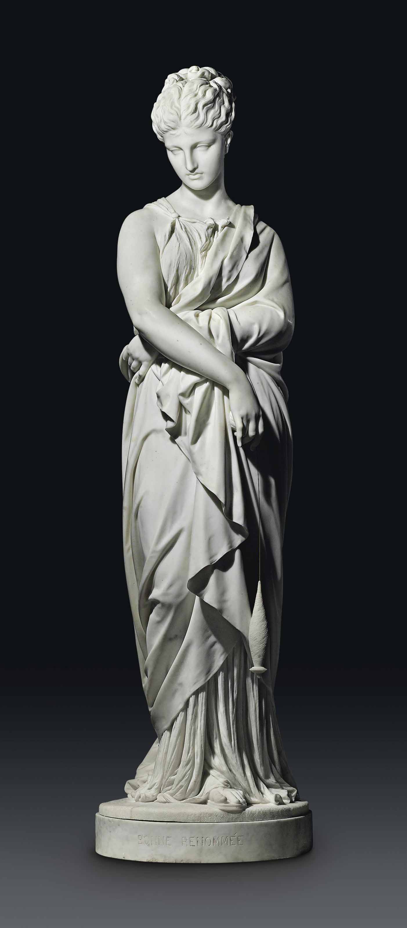 AN IMPORTANT OVER-LIFESIZE FRENCH MARBLE FIGURE OF PENELOPE, ENTITLED 'BONNE RENOMMEE'