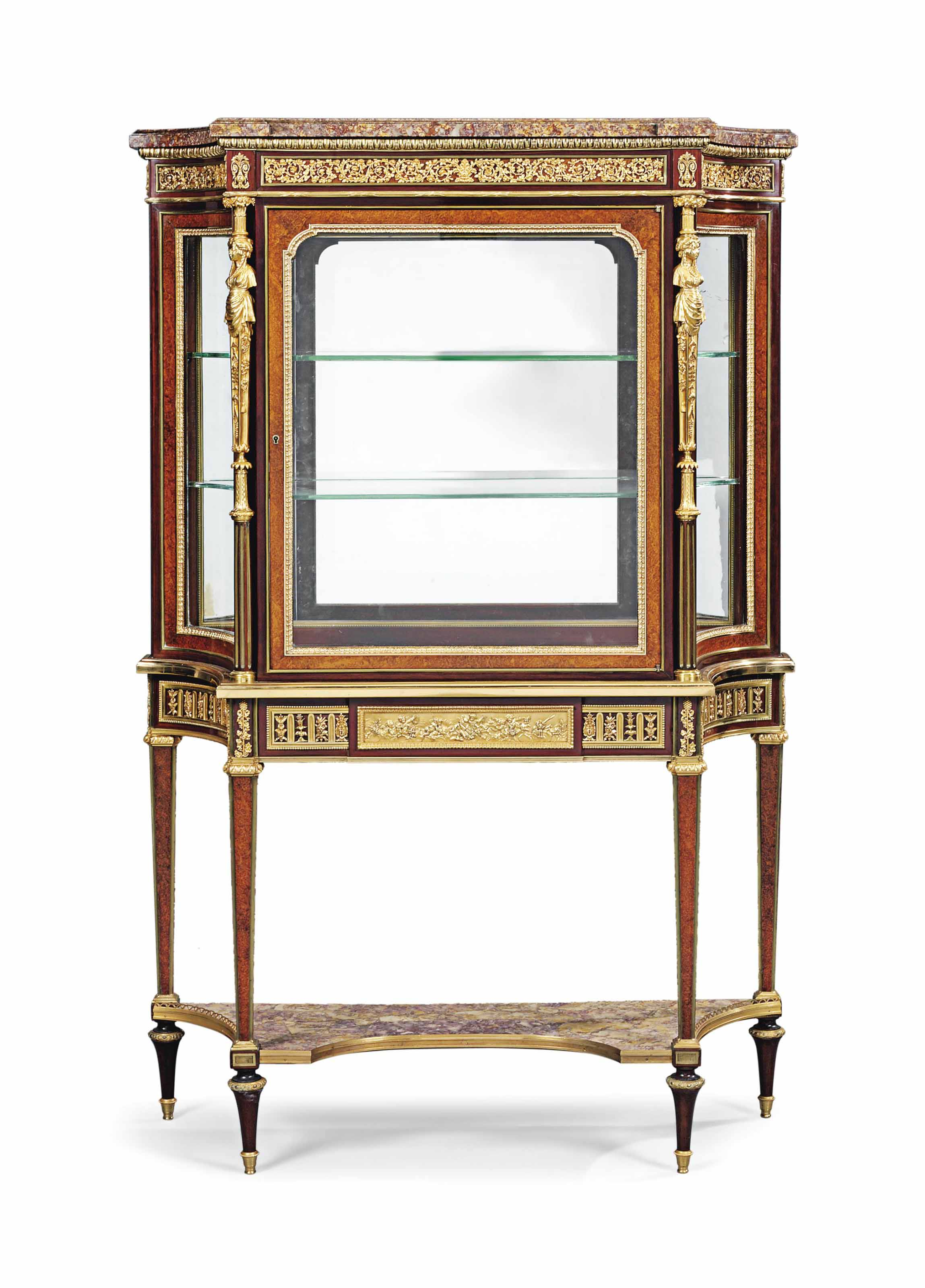 A FRENCH ORMOLU-MOUNTED MAHOGANY AND BURR AMBOYNA VITRINE CABINET