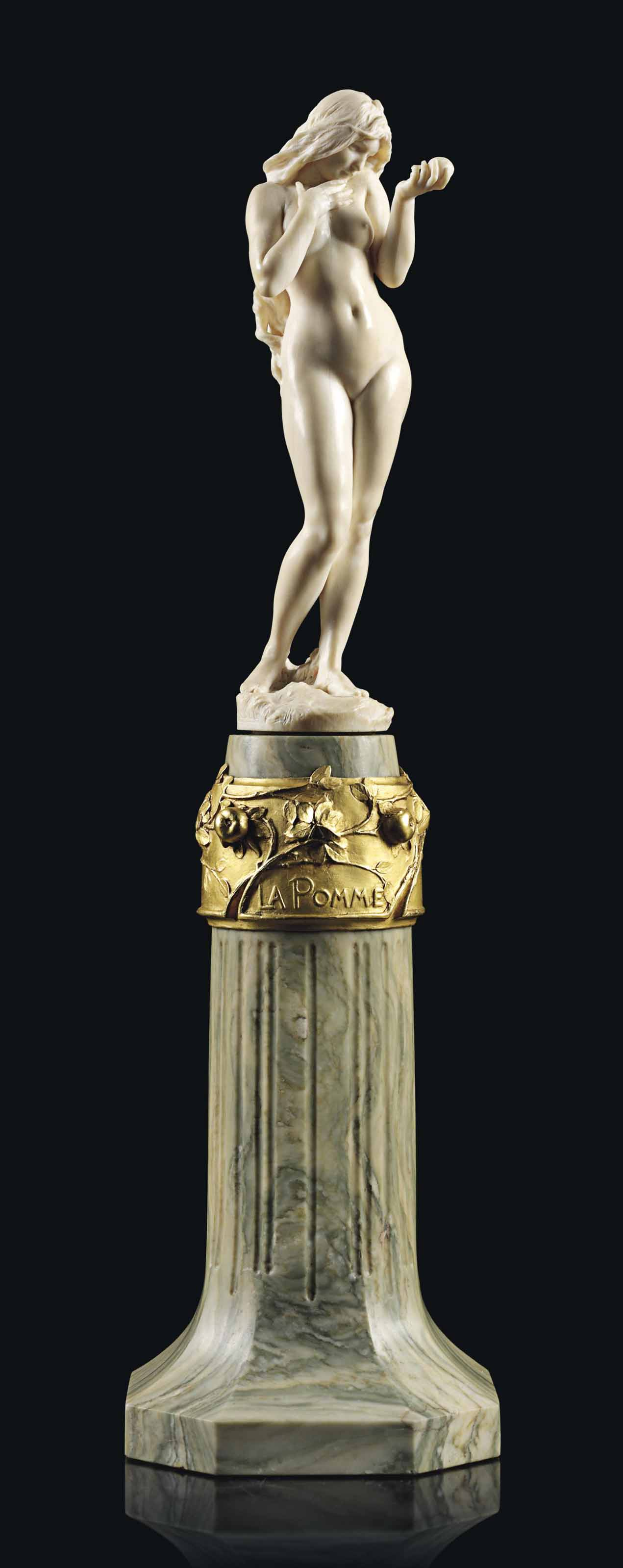A FRENCH IVORY FIGURE OF EVE, ENTITLED 'LA POMME'