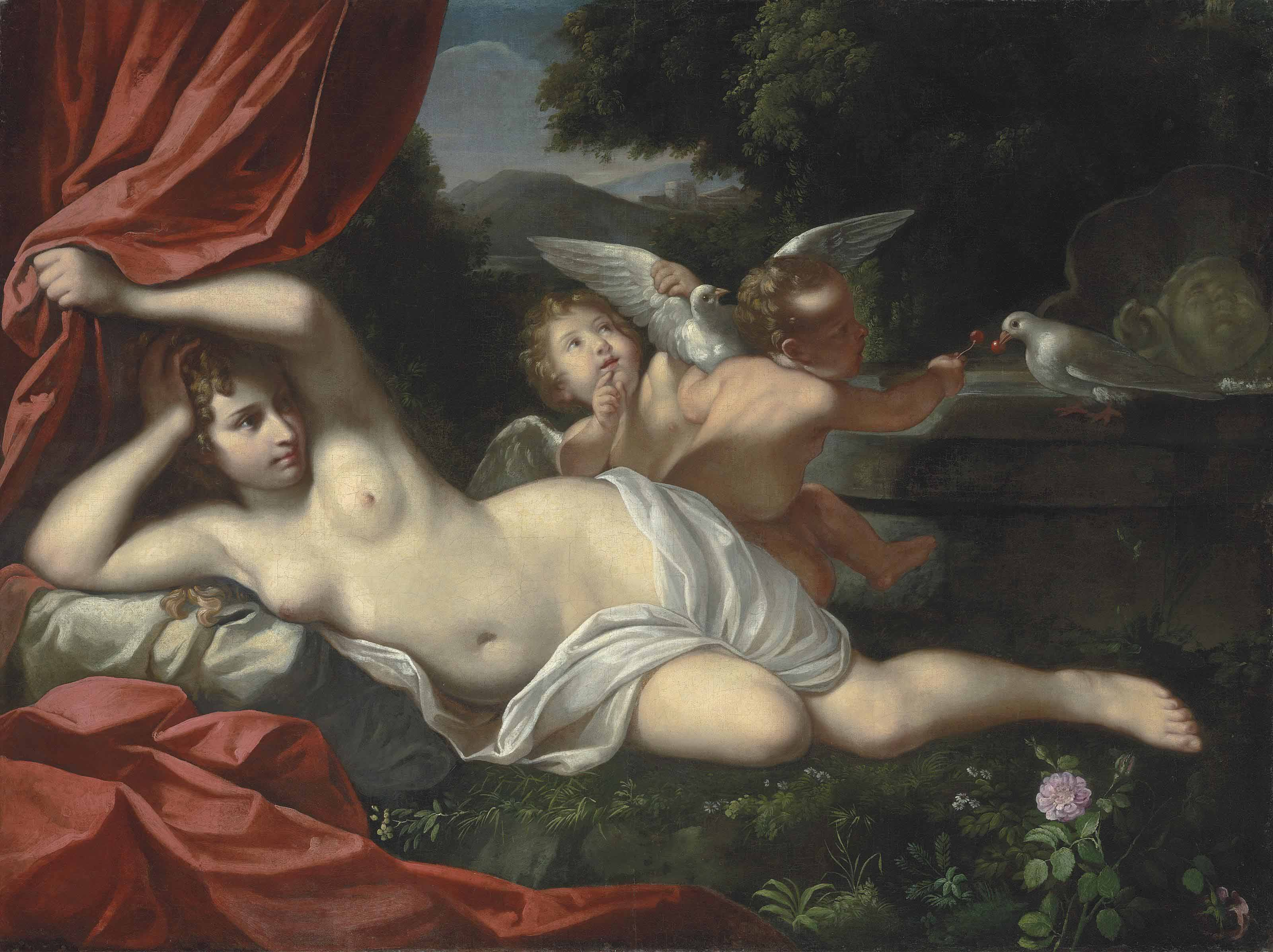 Venus reclining with a putto and an infant playing with doves, an Italianate landscape beyond