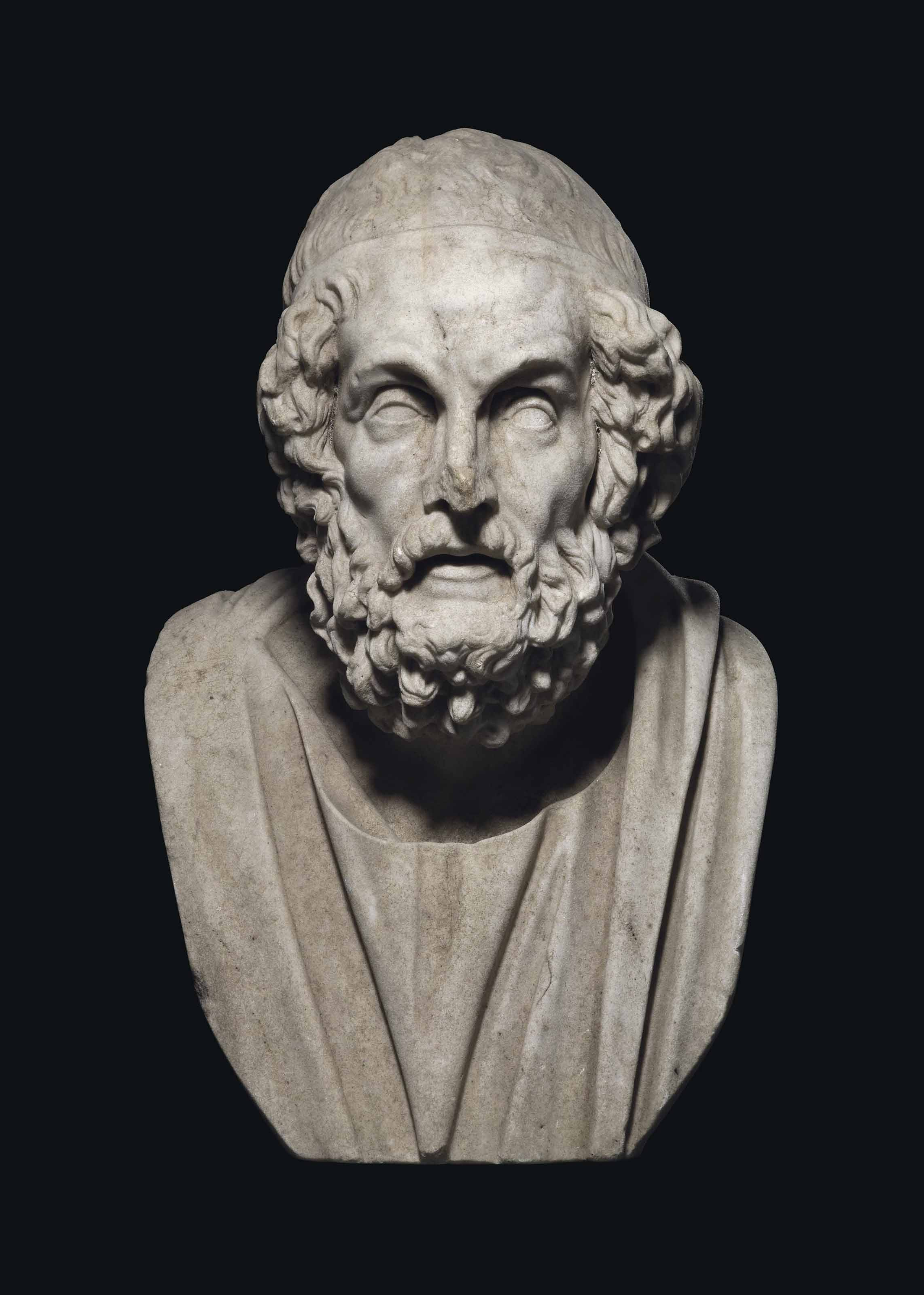 A MARBLE BUST OF HOMER
