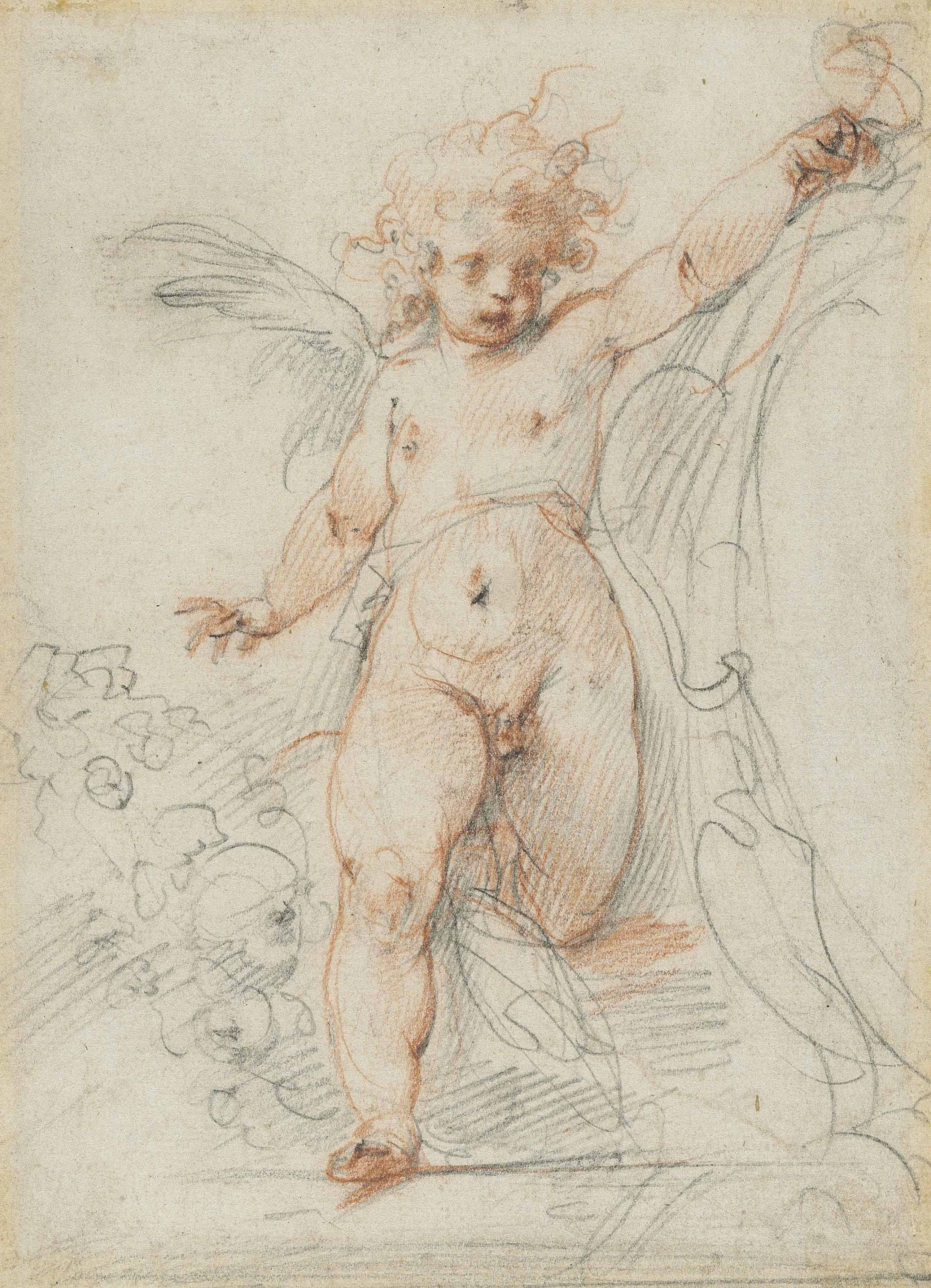 A winged putto flanking a cartouche