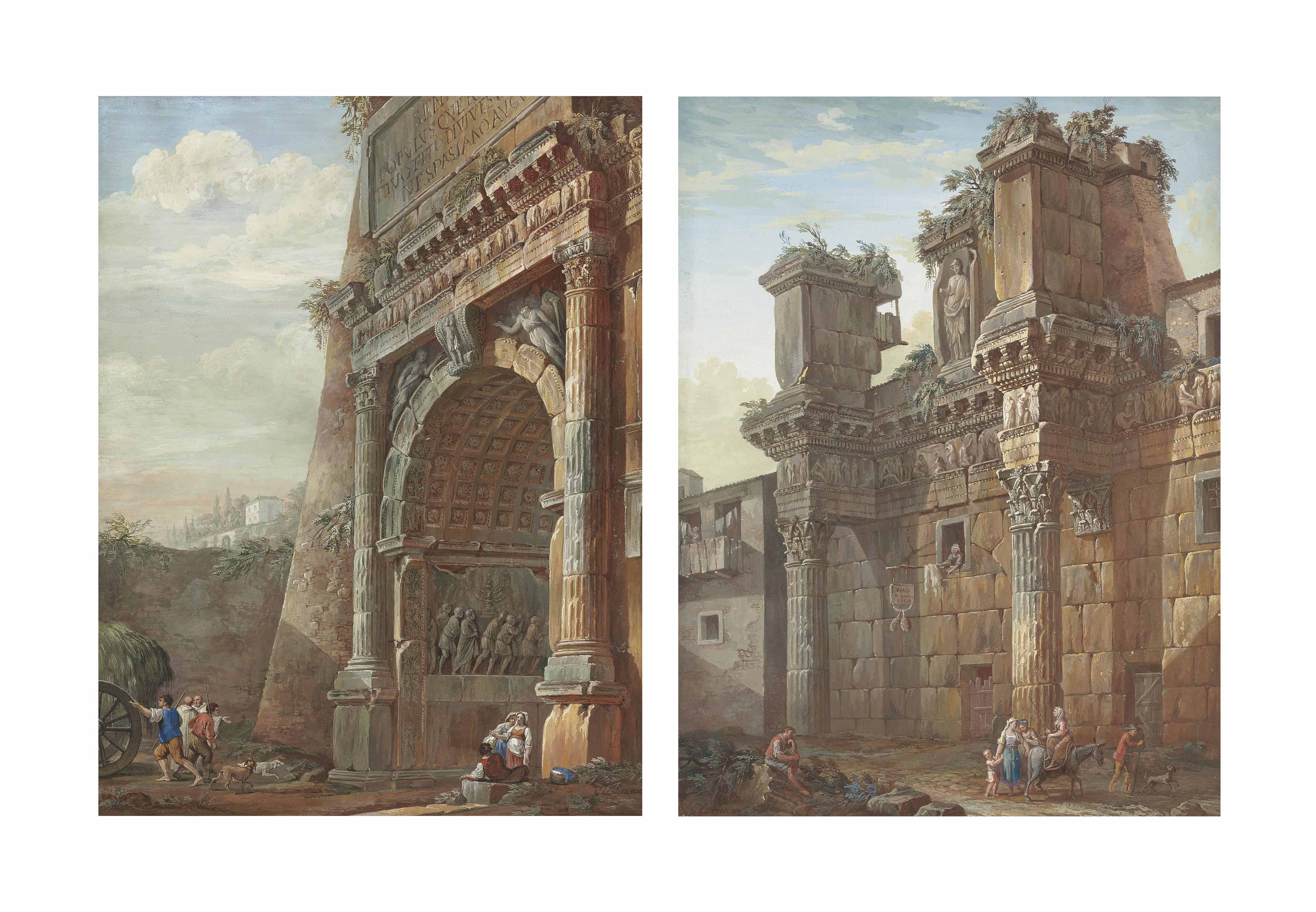 The Arch of Titus, Rome; and The Forum of Nerva, Rome