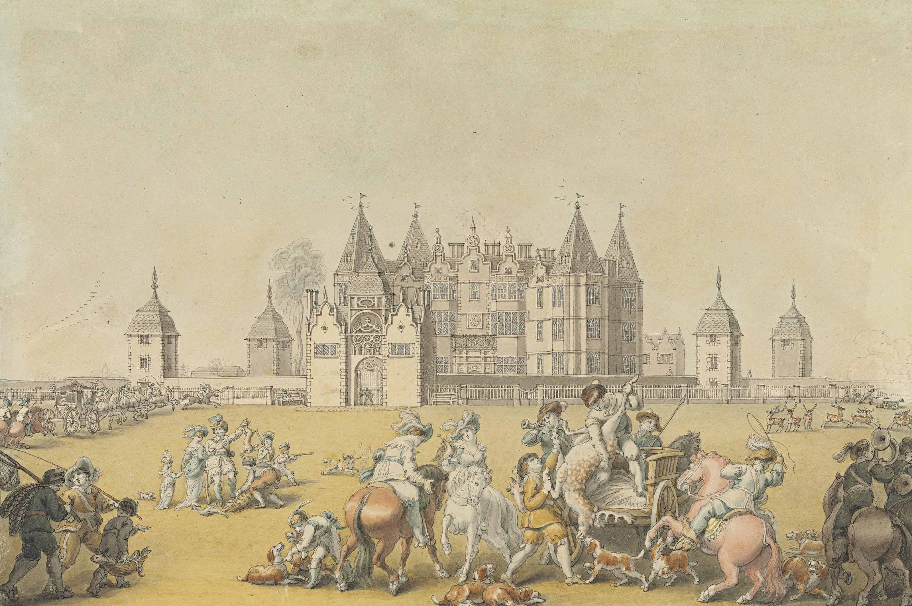 The return from the chase, Westwood House, Worcestershire, seat of Sir John Pakington