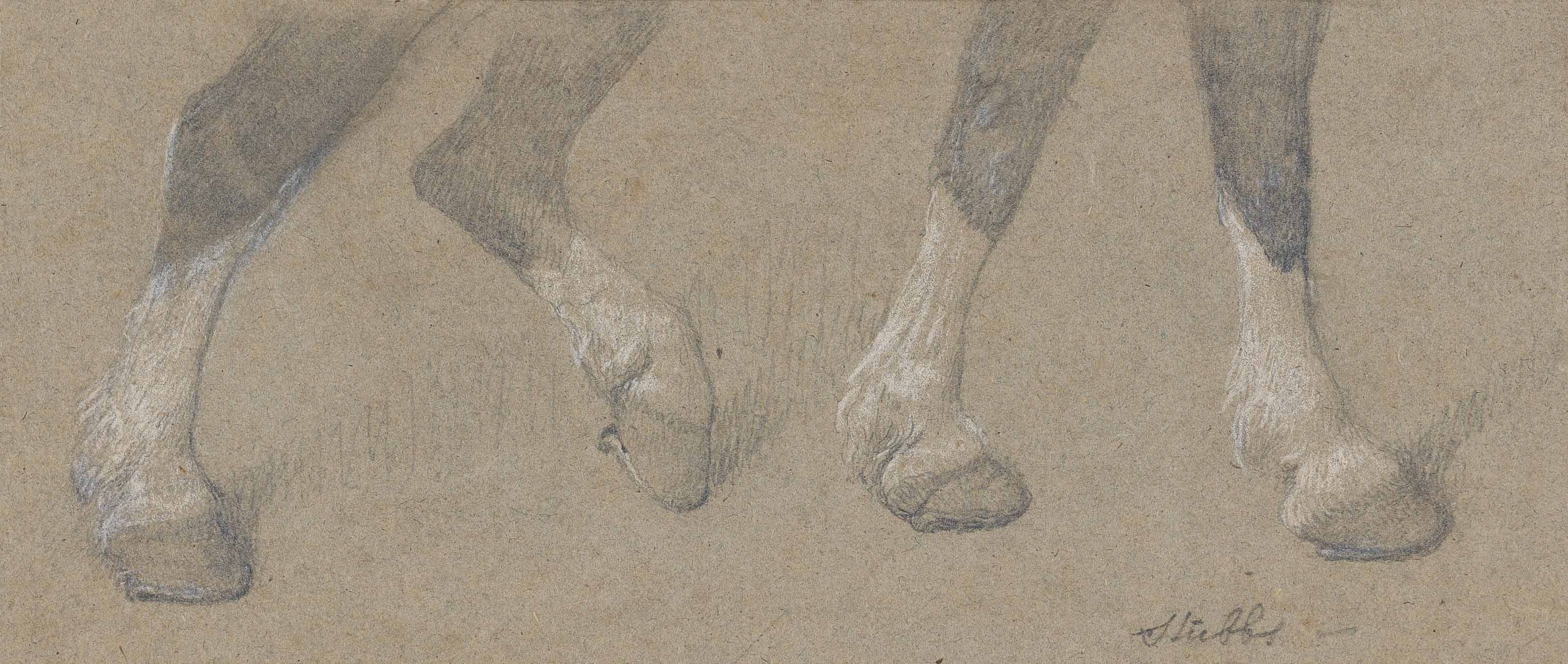 Study of the legs of a draught-horse pulling a harrow, driven on by a farm labourer