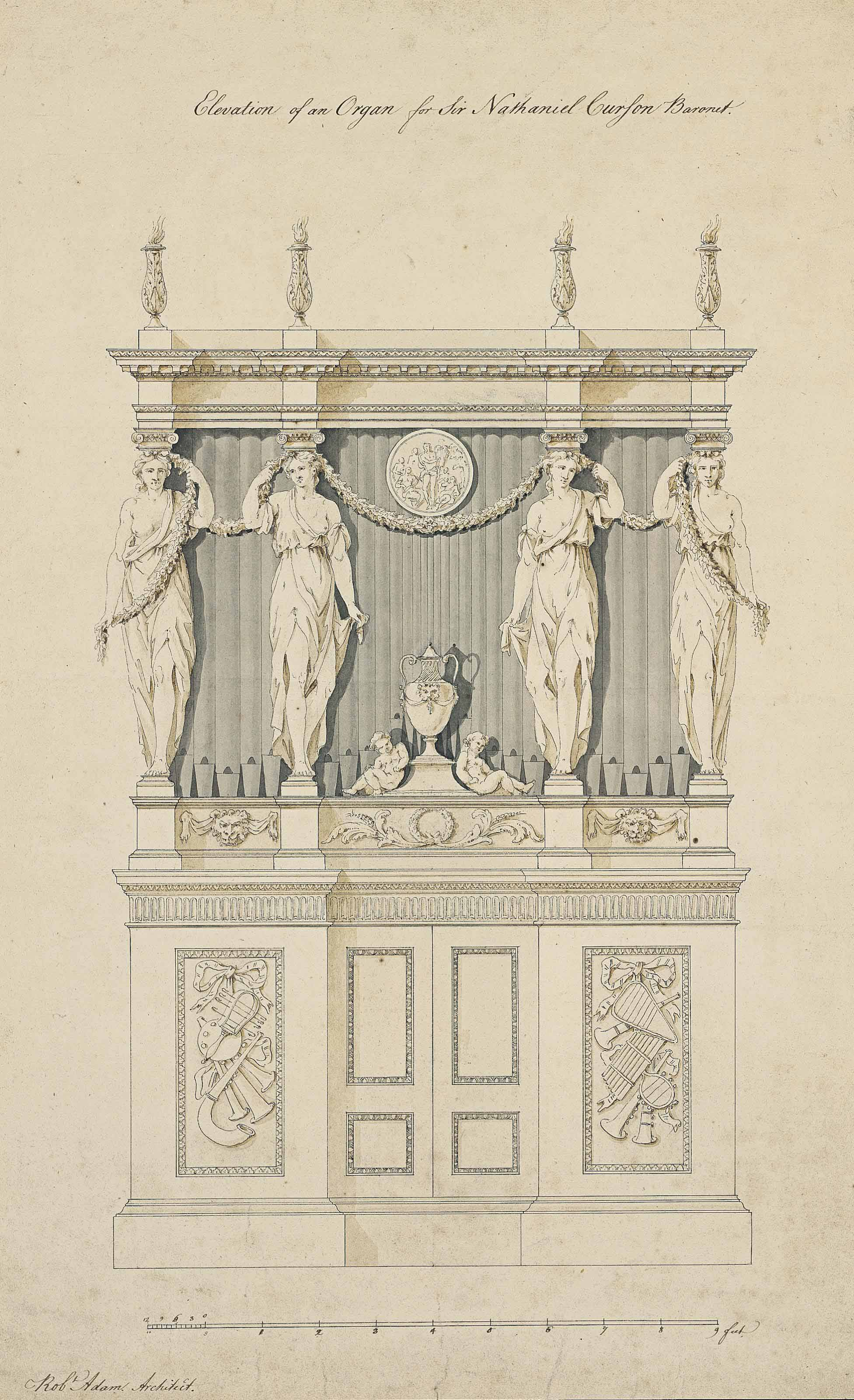Elevation of an organ for Sir Nathaniel Curzon, Bt.