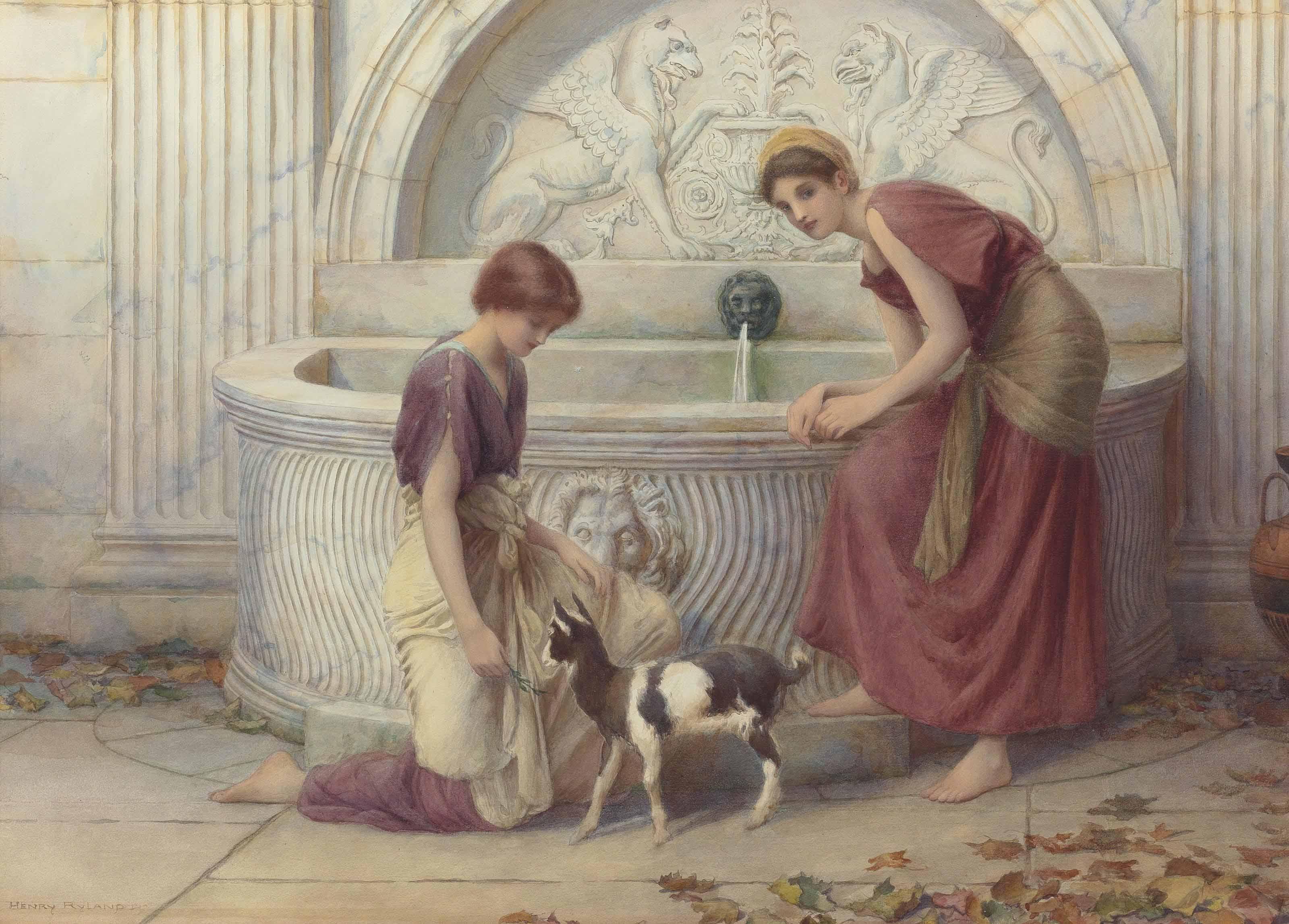 At the fountain, Autumn