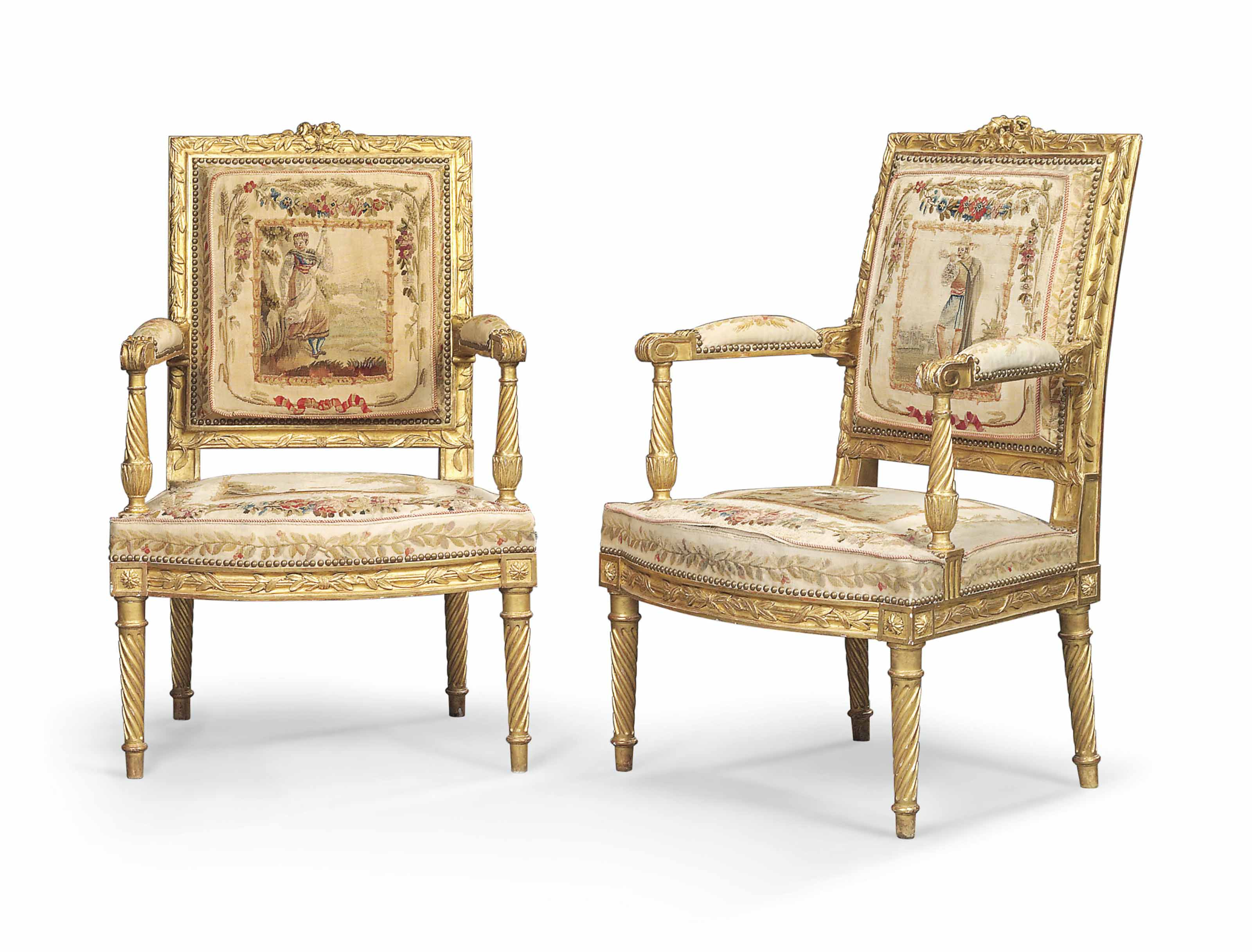 A PAIR OF EMPIRE GILTWOOD FAUTEUILS